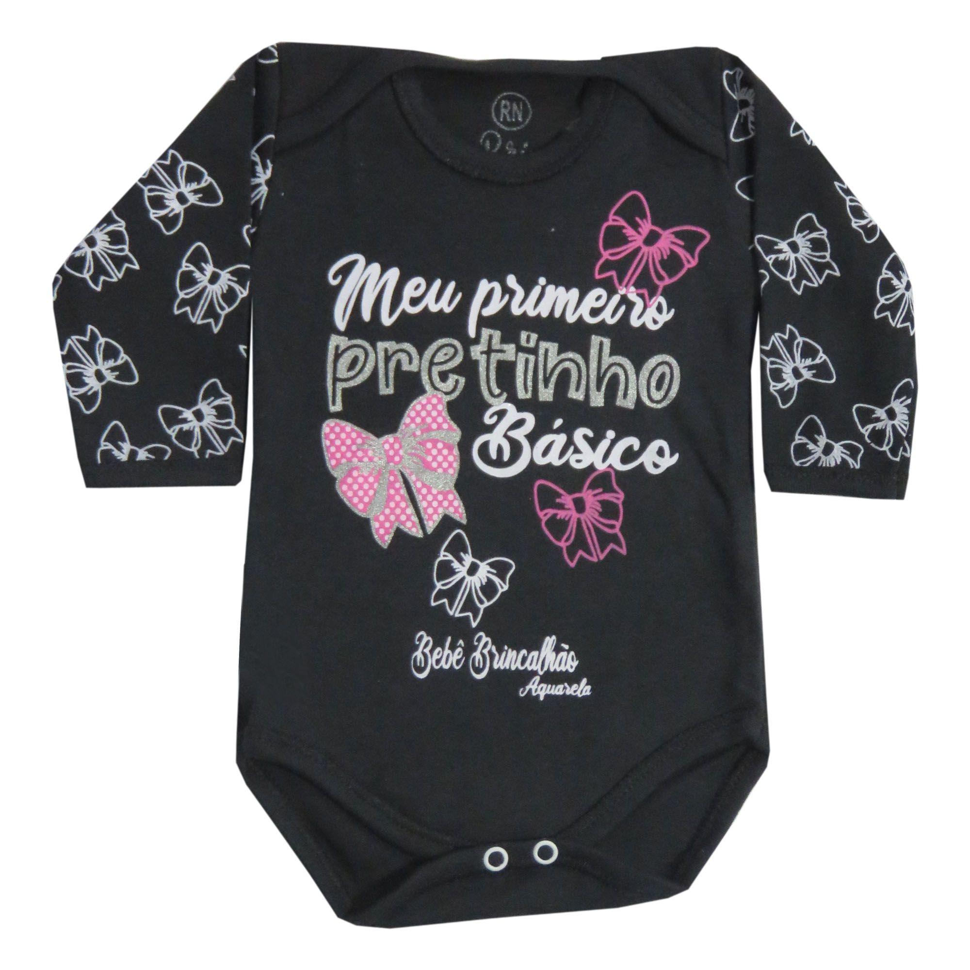 Body Bebê Brincalhão Frases Meu Primeiro Pretinho Básico - Rn ao G