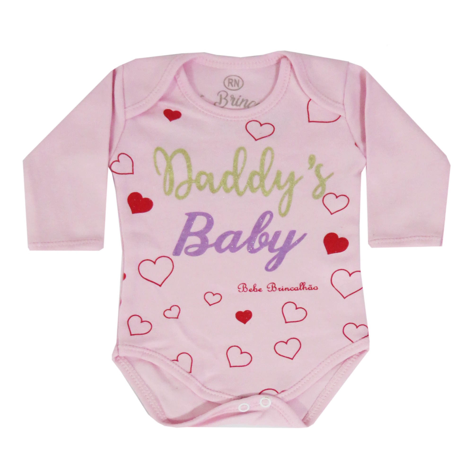 Body Manga Longa Bebê Brincalhão Frases Mon And Dad, Mommy's Girl, Daddy's Baby - RN ao G