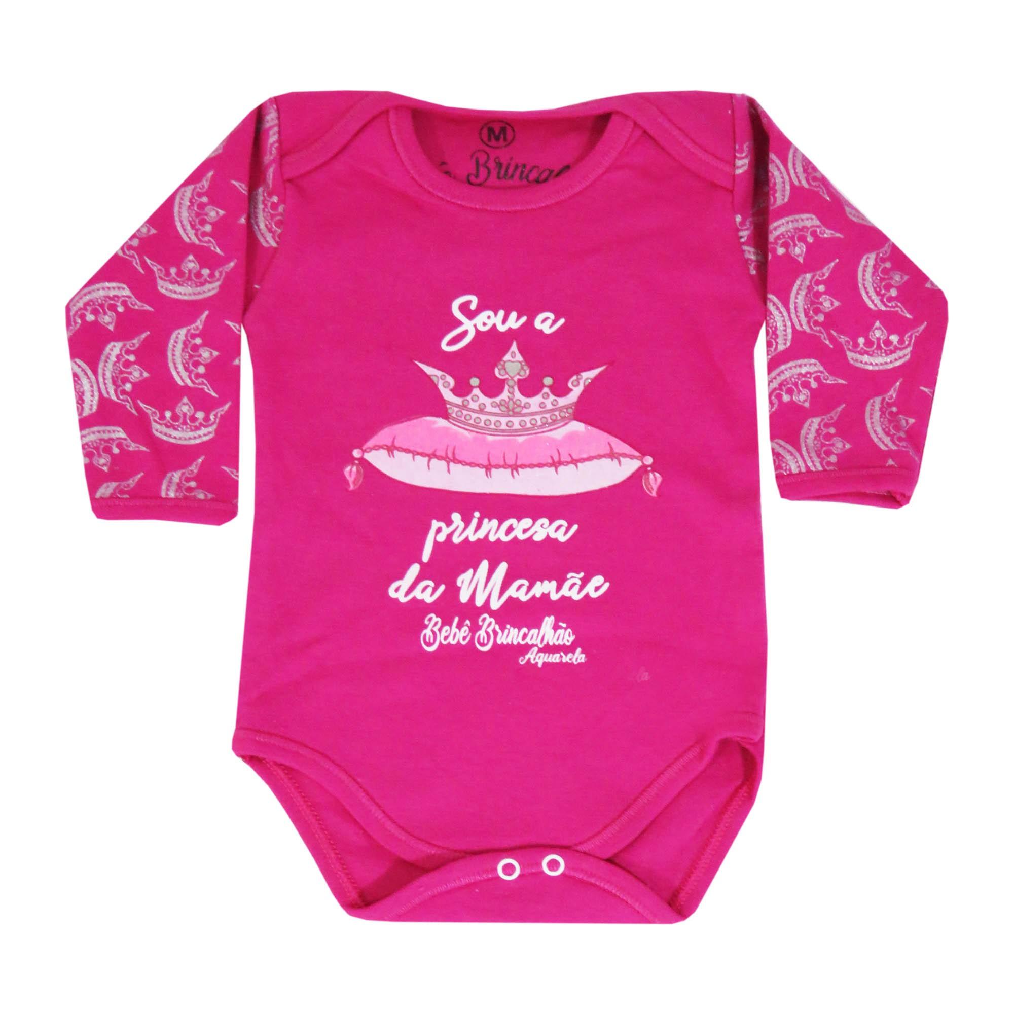 Body Manga Longa Bebê Brincalhão Frases Sou a Princesa da Mamãe - RN ao G