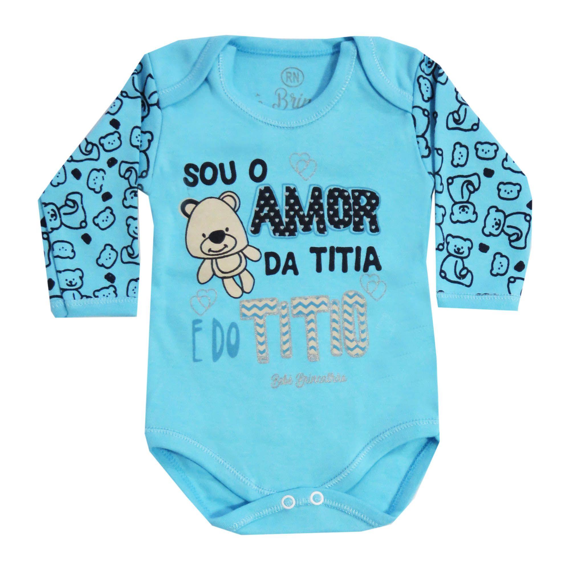 Body Manga Longa Bebê Brincalhão Frases Sou o Amor da Titia e do Titio - Rn ao G