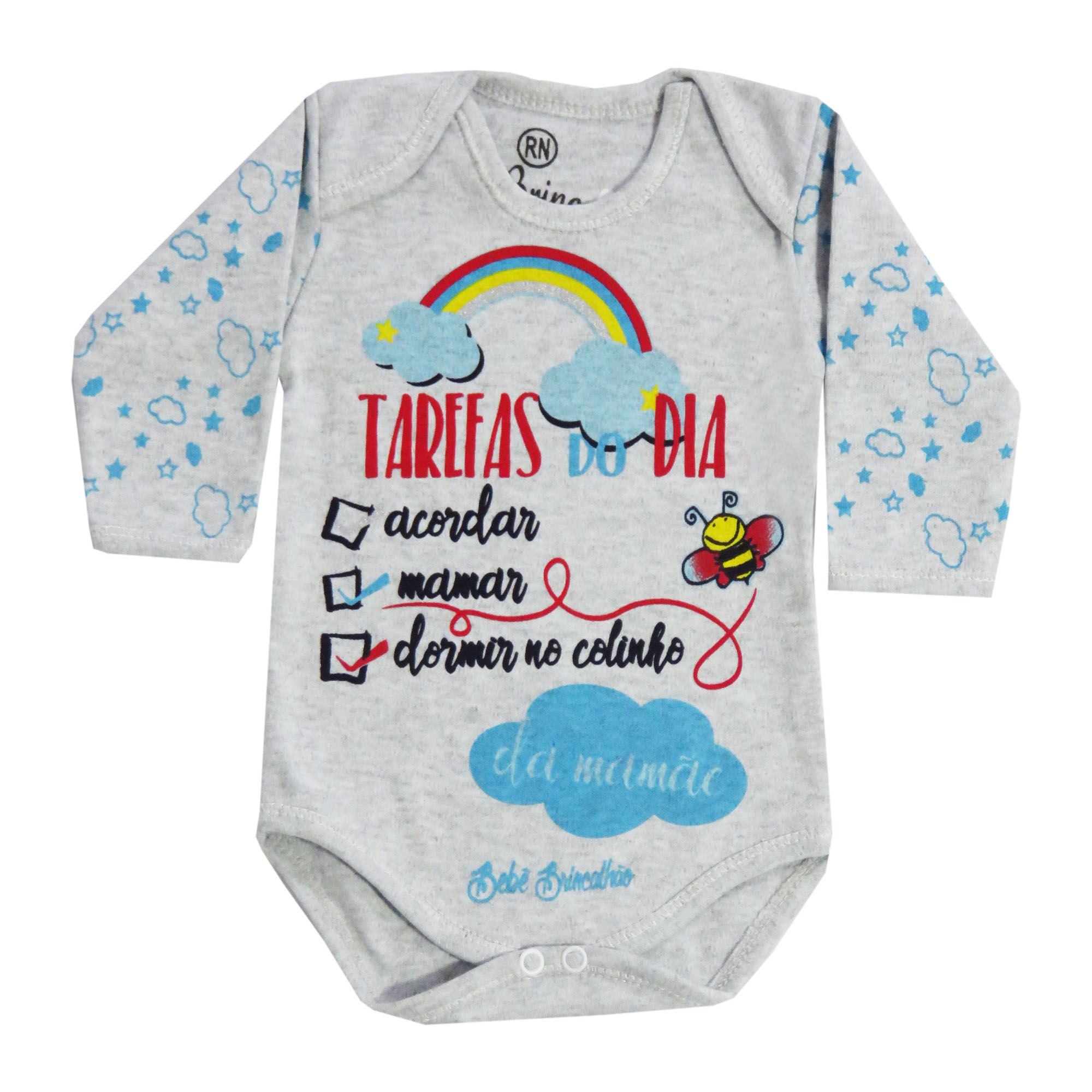 Body Bebê Brincalhão Frases Tarefas do Dia Acordar, Mamar, Dormir no Colinho da Mamãe - Rn ao G