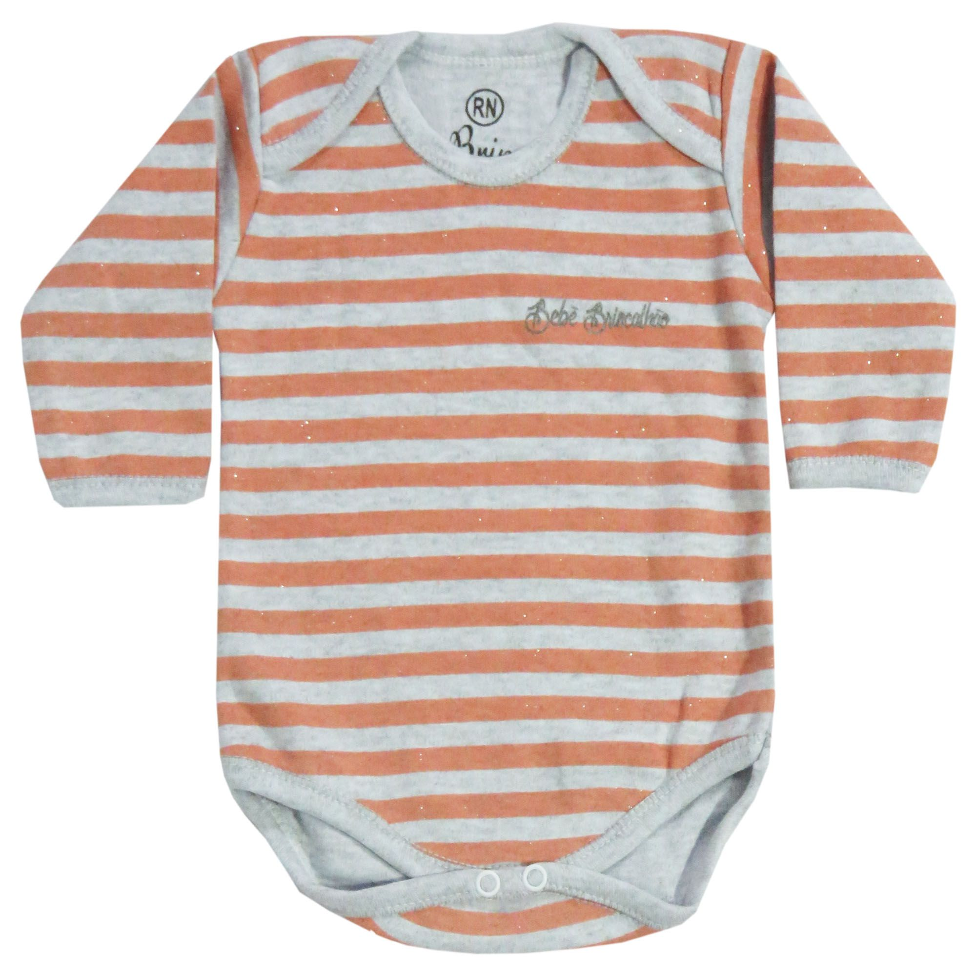 Body Manga Longa Bebê Brincalhão Listrado com Brilho - RN ao G