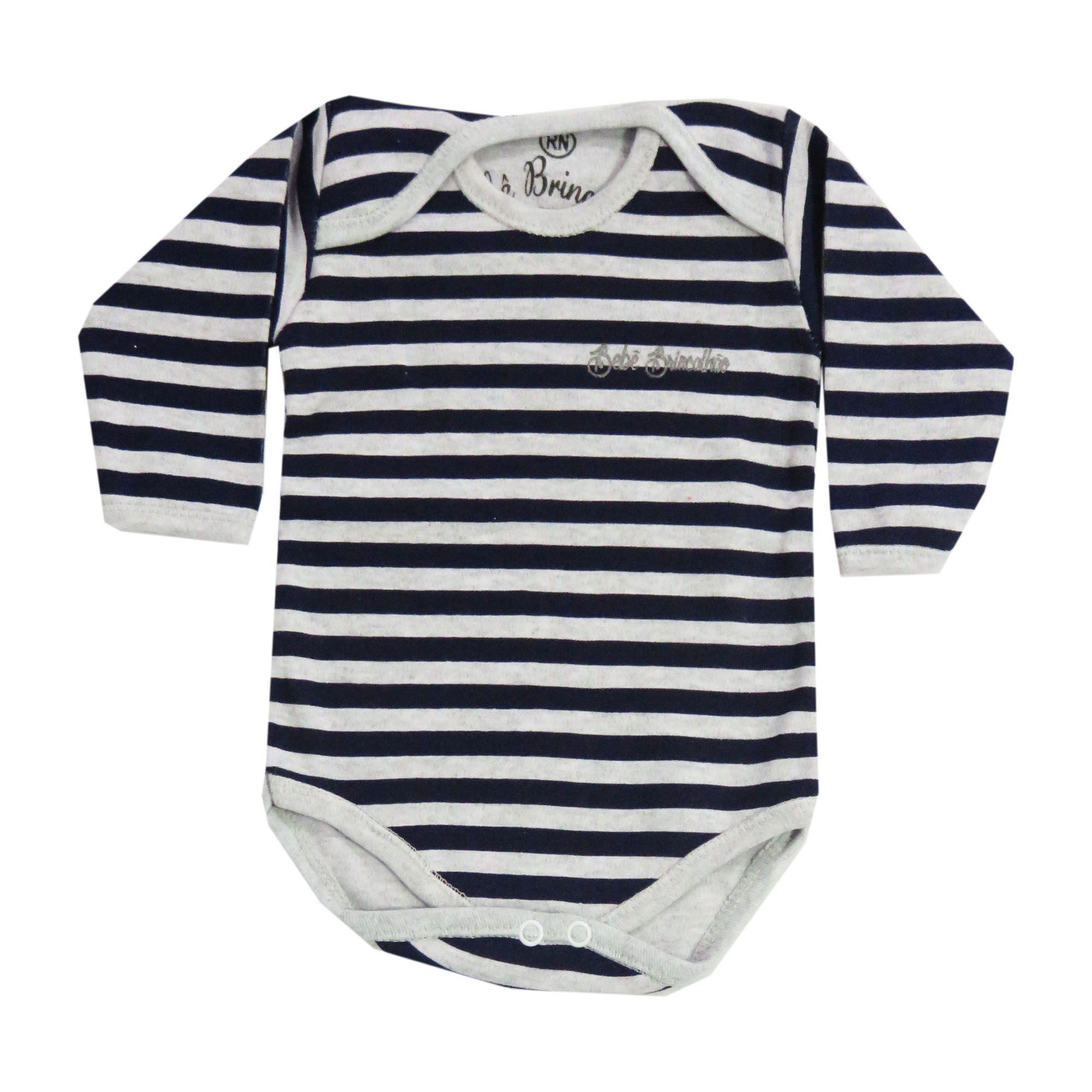 Body Manga Longa Bebê Brincalhão Listrado - Rn ao G