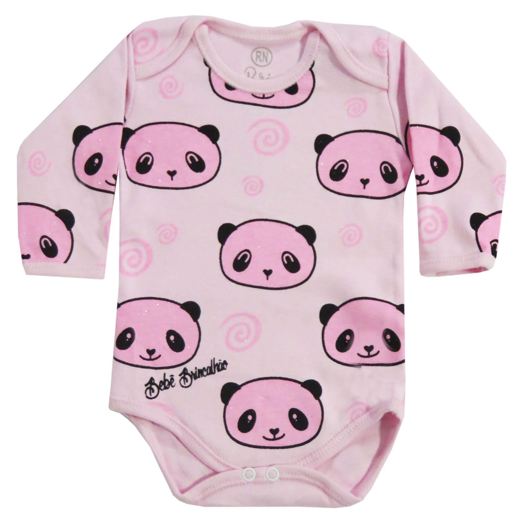 Body Manga Longa Bebê Brincalhão Urso Soneca, Gata e Panda - RN ao G