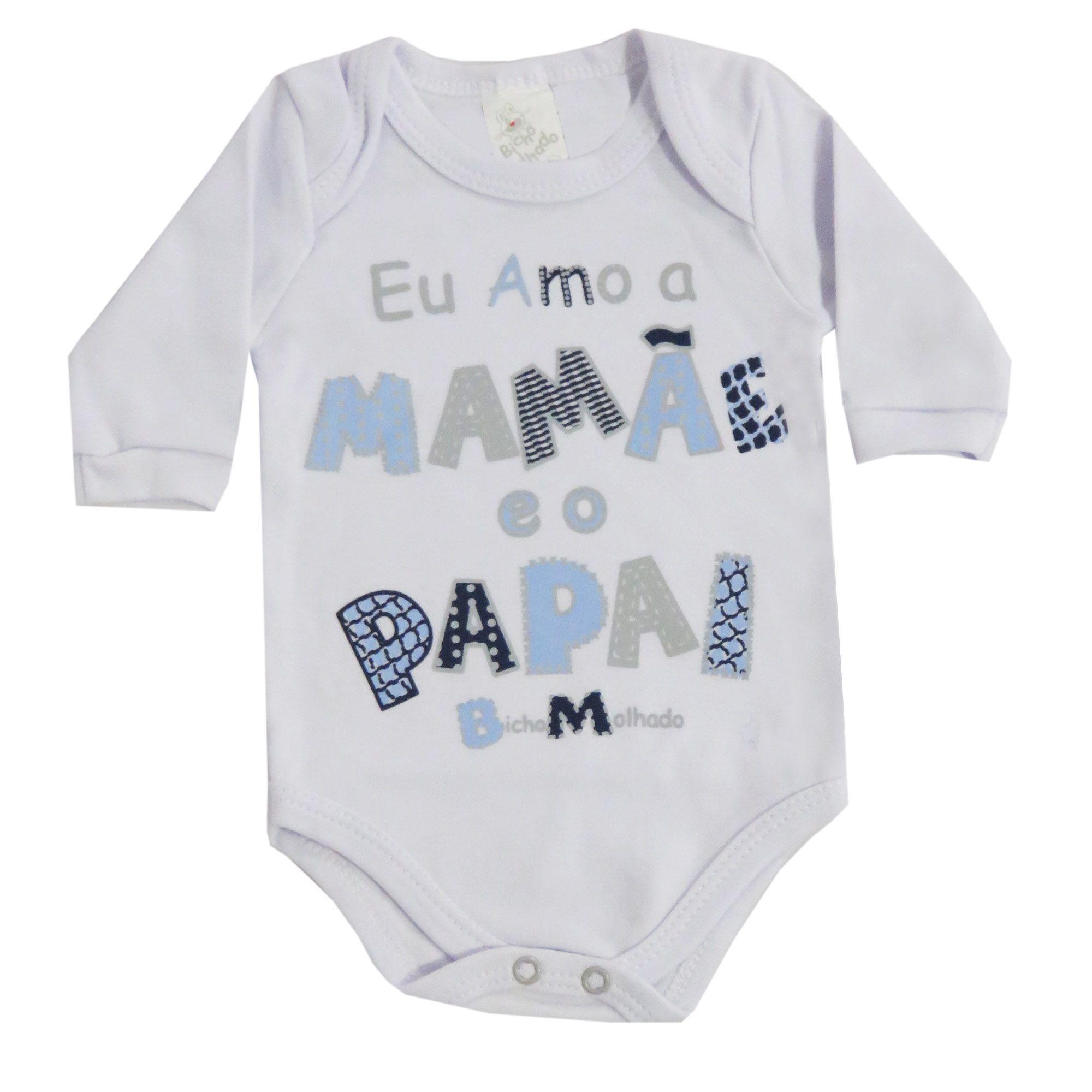 Body Bicho Molhado Frases Eu Amo a Mamãe e o Papai - RN ao G