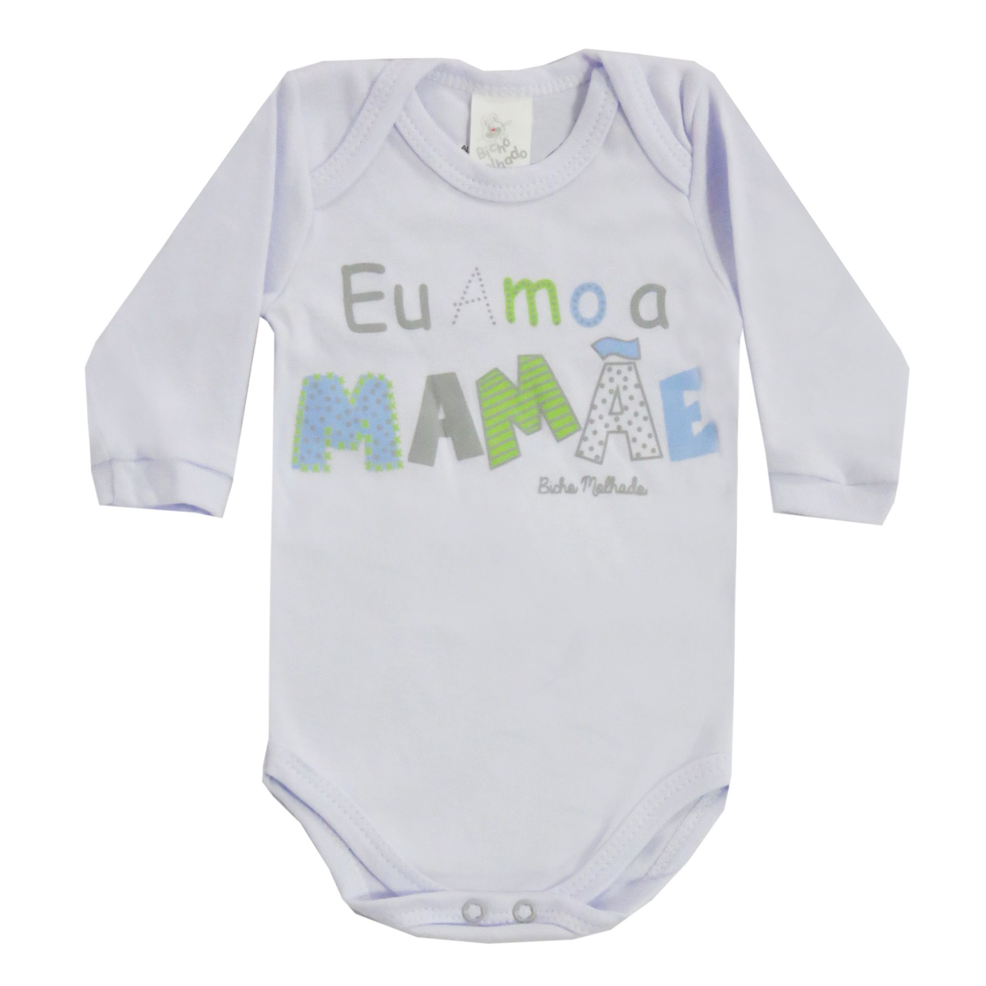 Body Manga Longa Bicho Molhado Frases Eu Amo a Mamãe - RN ao G