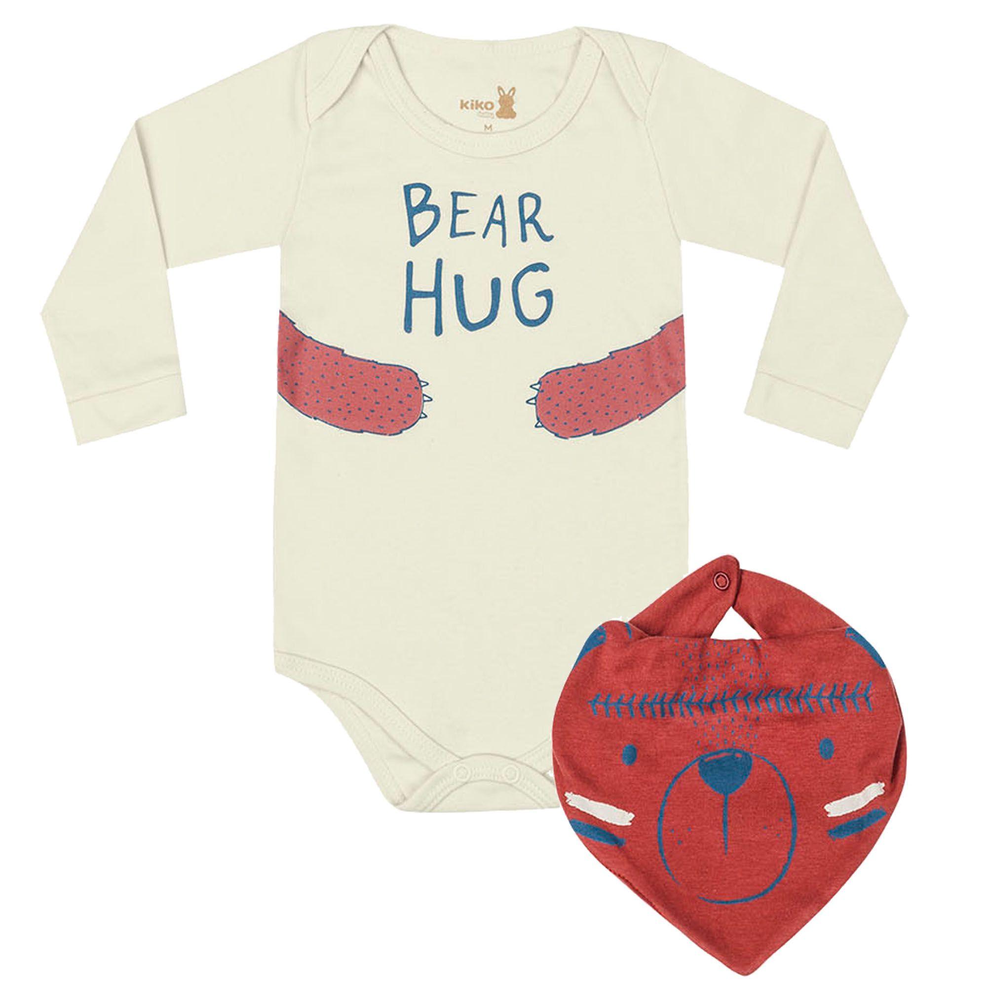 Body Manga Longa Kiko Baby com Babador Estampa Bear Hug Urso - RN ao G