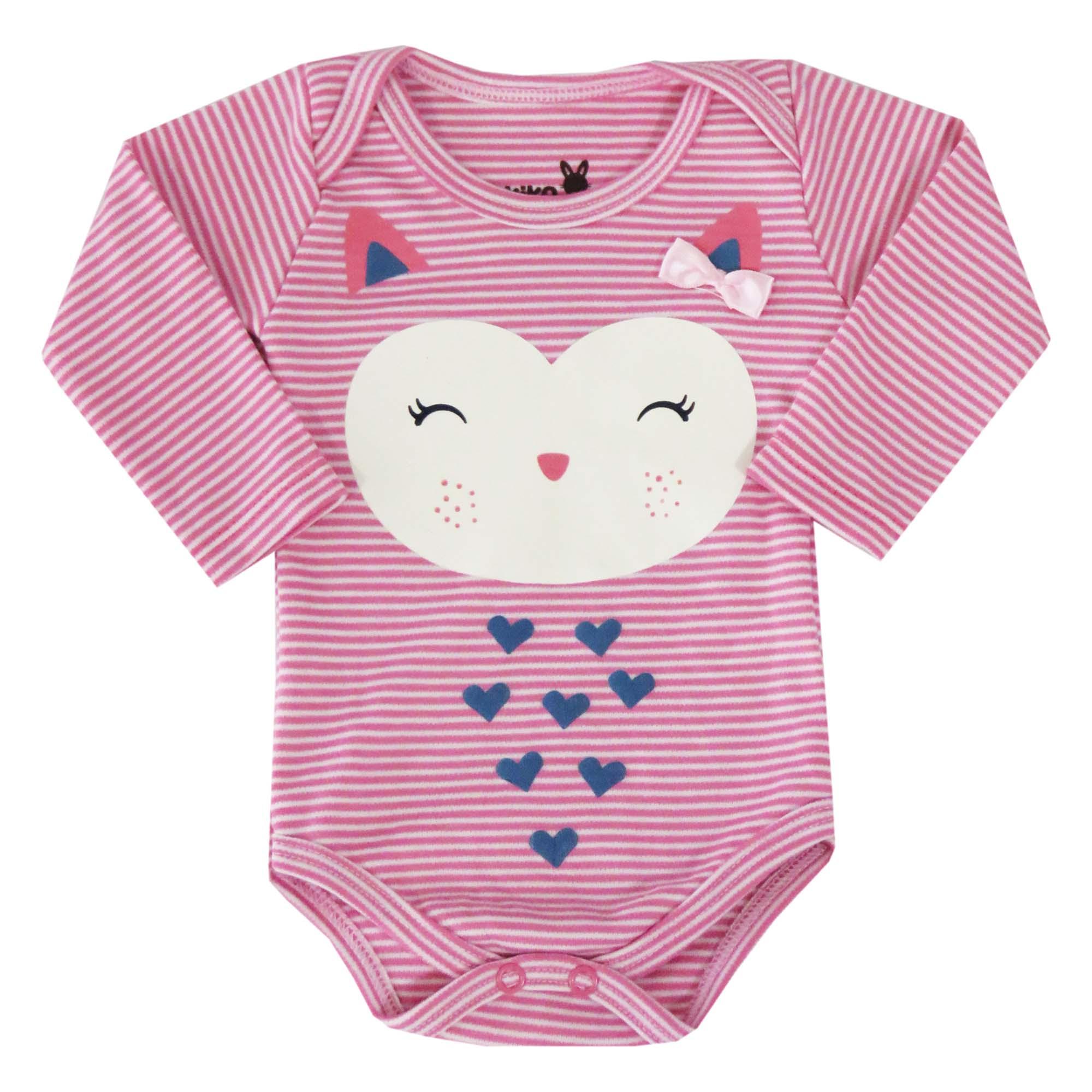 Body Kiko Baby Manga Longa de Suedine - Listrado Corujinha - RN ao G