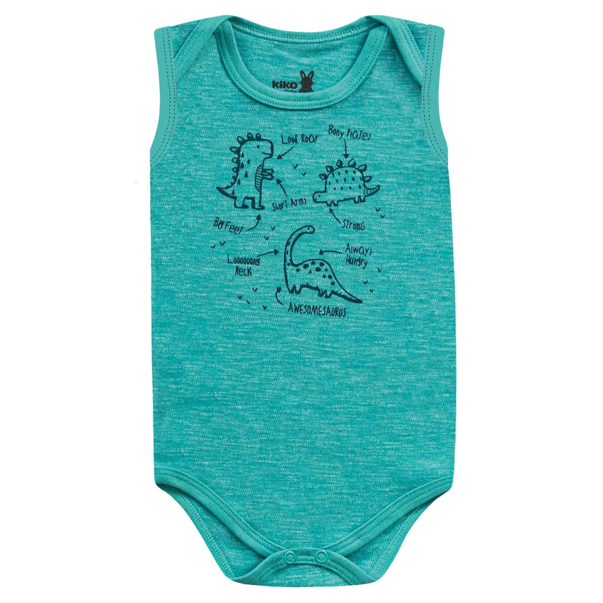 Body Regata Kiko Baby Liso e Estampa Dino - RN ao G