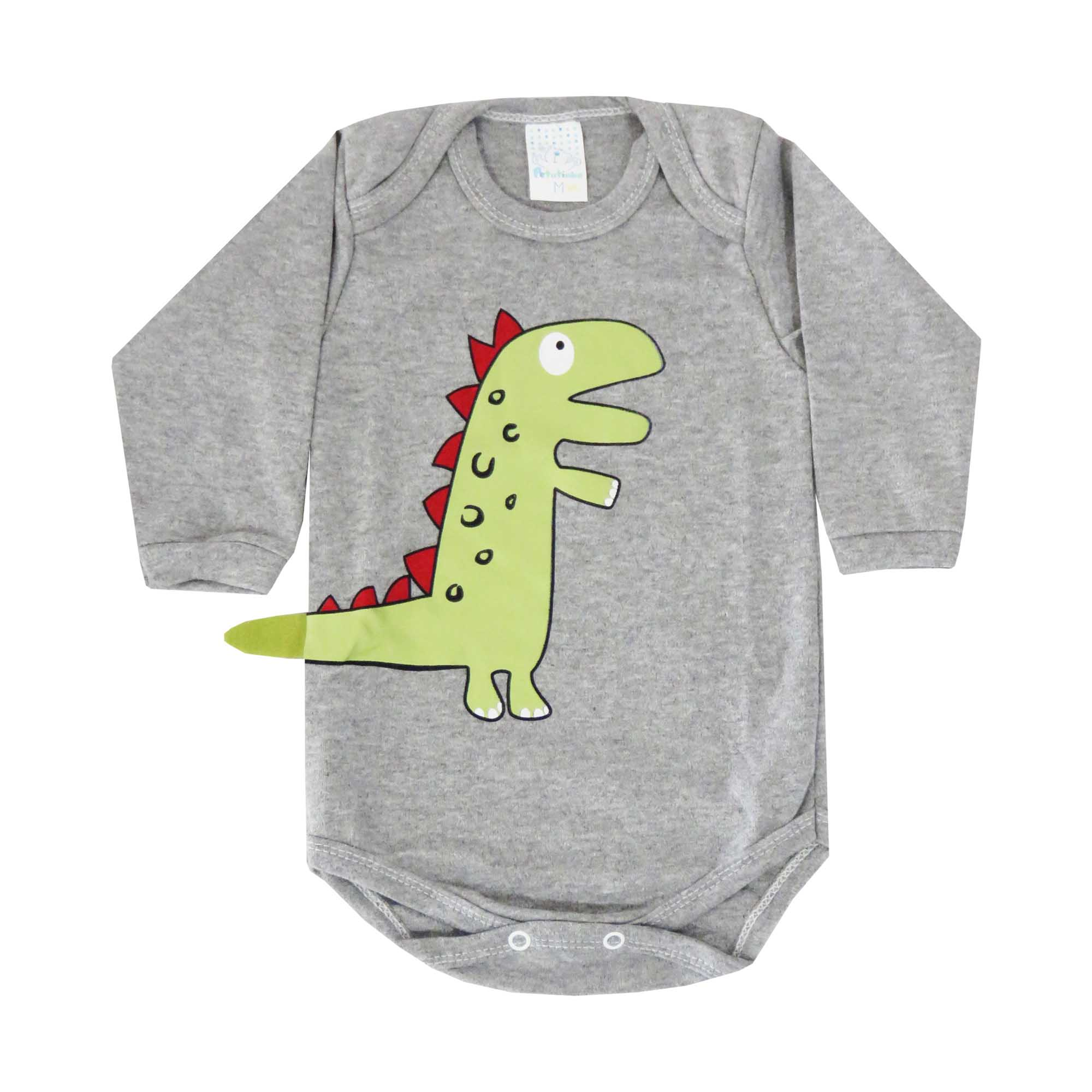 Body Manga Longa Petutinha Dinossauro - Rn ao G