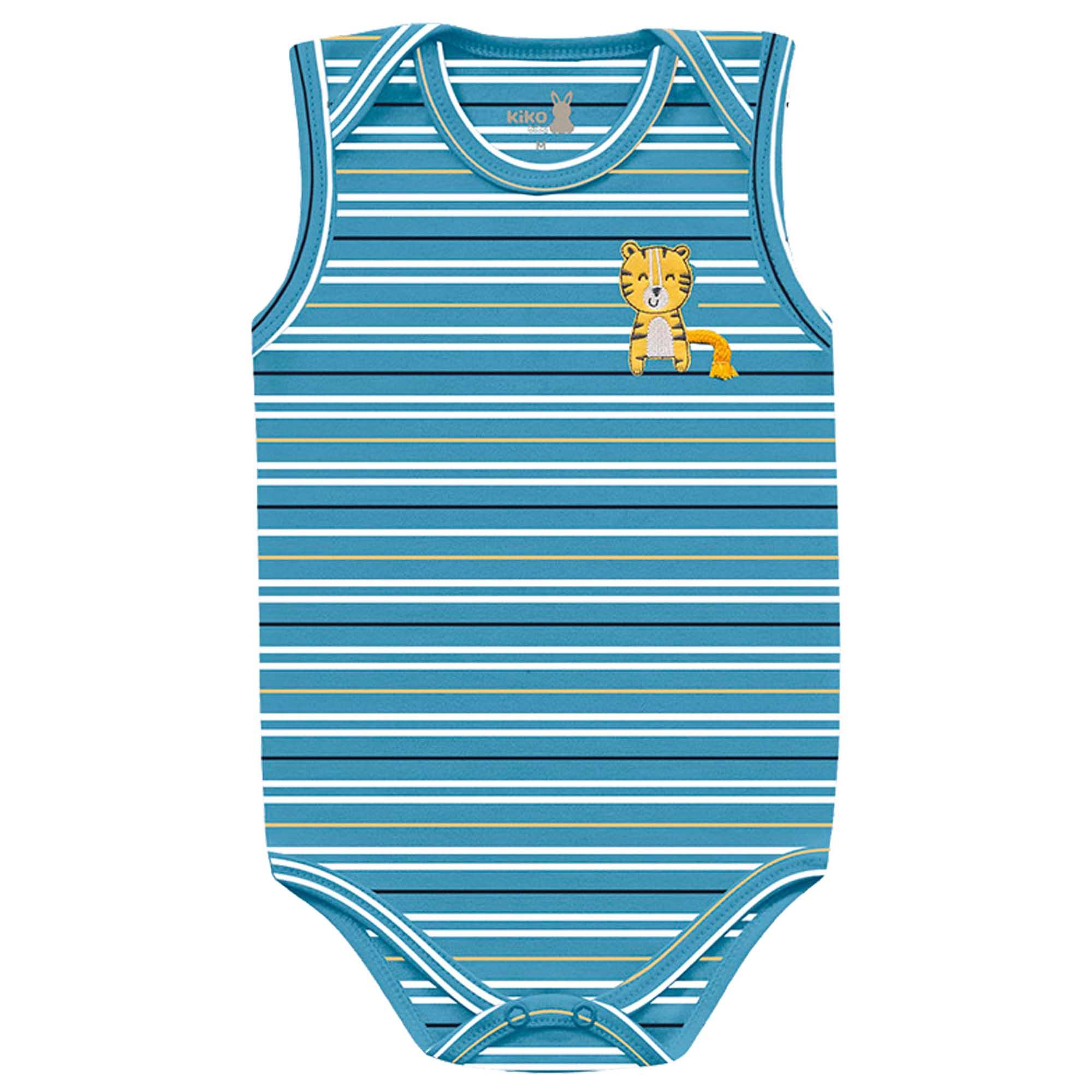 Body Regata Kiko Baby Listrado com Aplicação Tigre - RN ao G