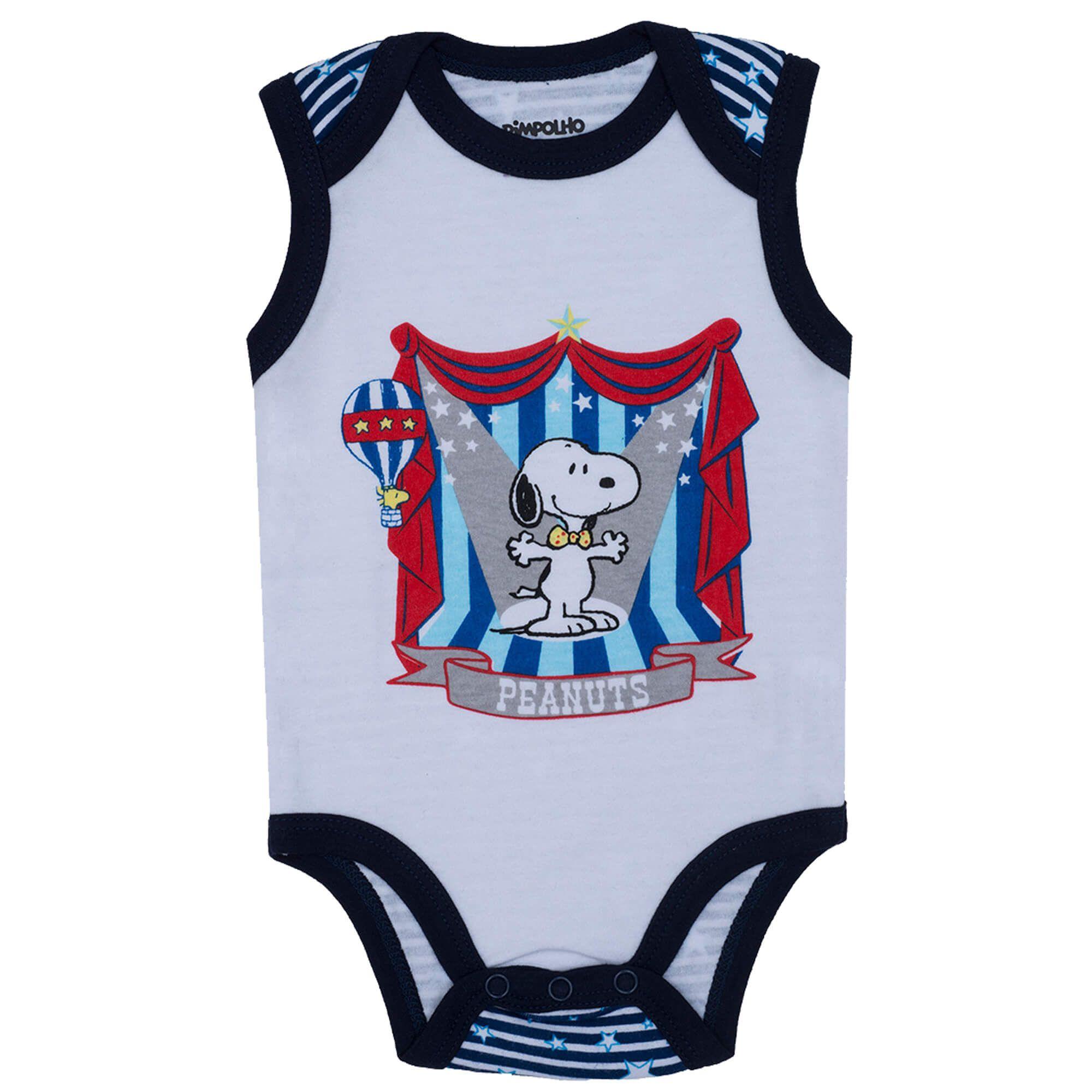 Body Regata Pimpolho Snoopy No Circo – Branco  – RN ao G