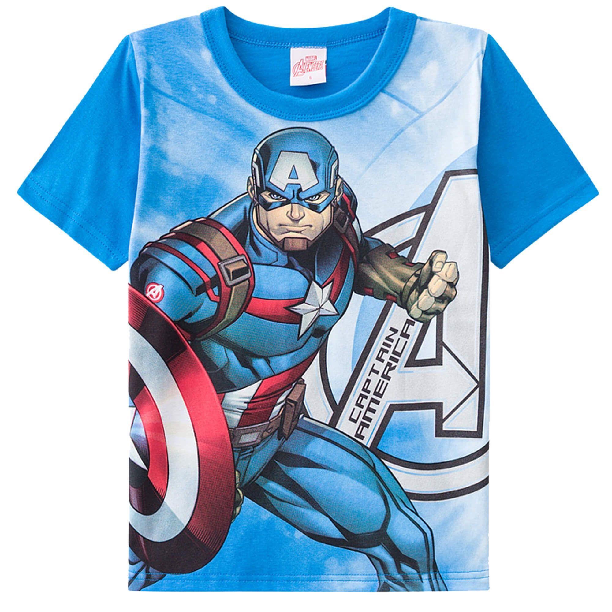 Camiseta Meia Manga Brandili Capitão América - 4  ao 10