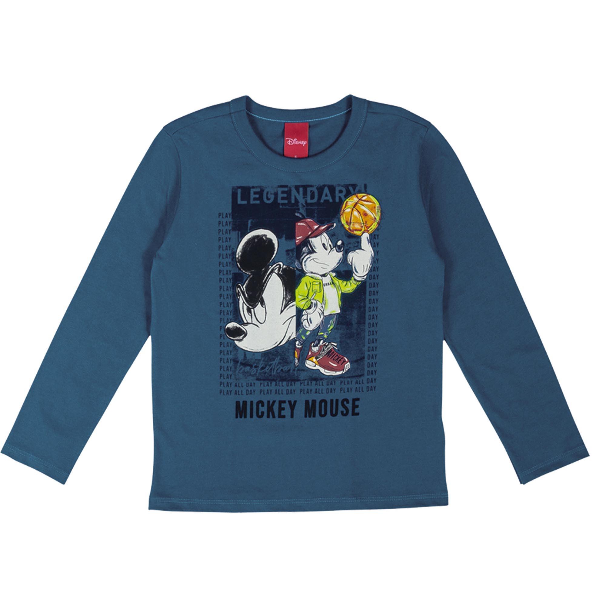 Camiseta Manga Longa Cativa Estampa com Neon Mickey Rodando Bola no Dedo - 4 ao 10