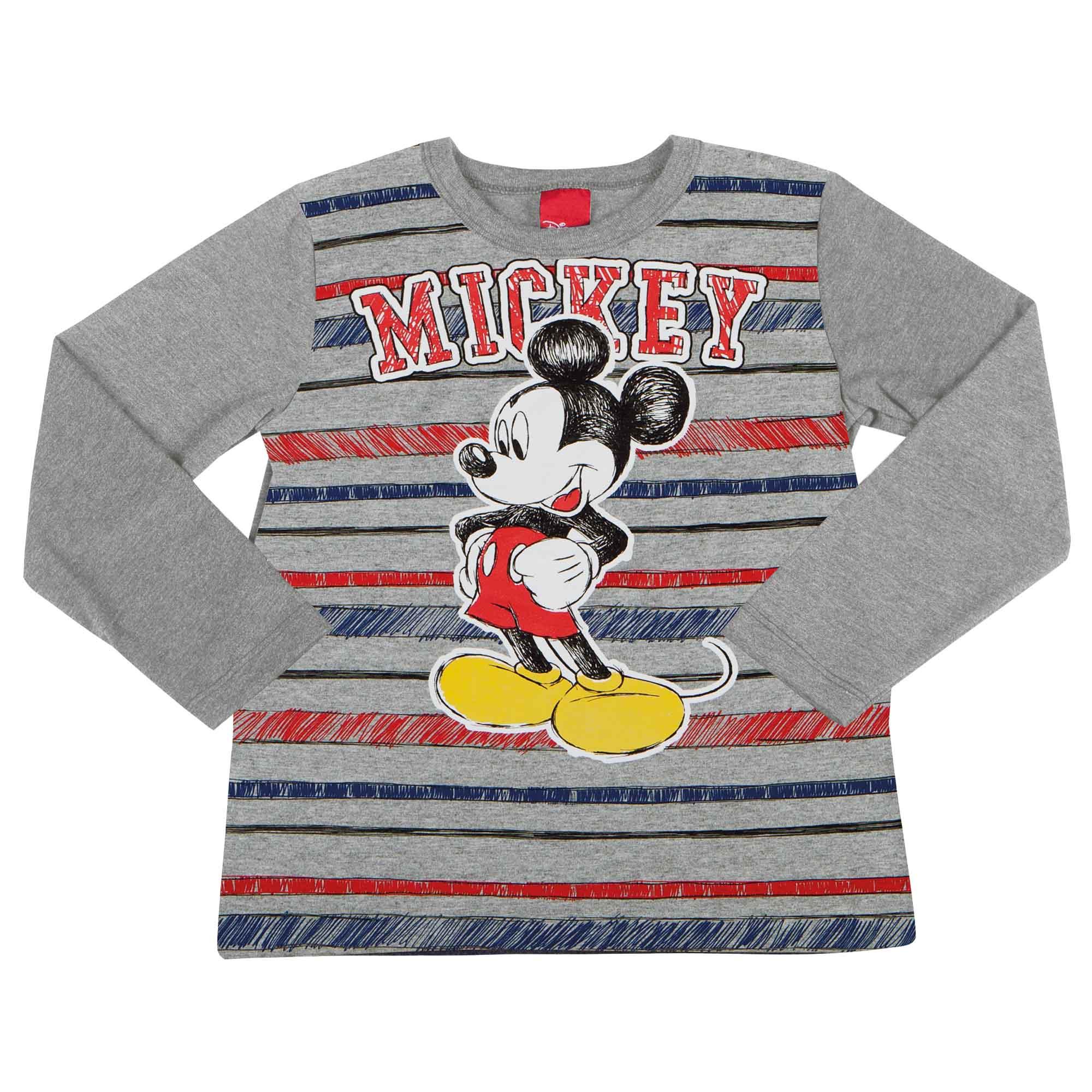 Camiseta Manga Longa Cativa Estampa Listras e Mickey - 4 ao 8