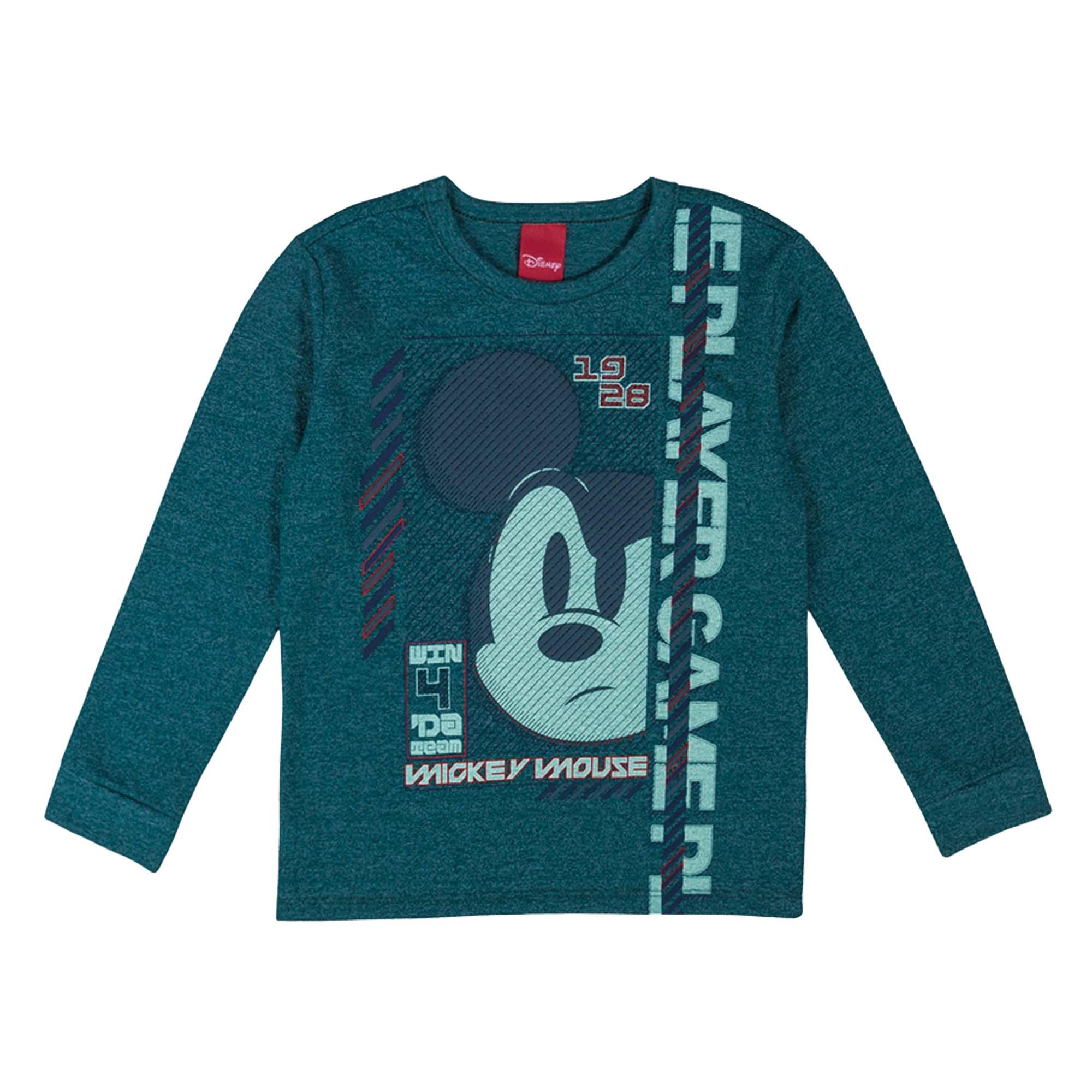 Camiseta Manga Longa Cativa Estampa Relevo Mickey Mouse Pensativo - 4 ao 10
