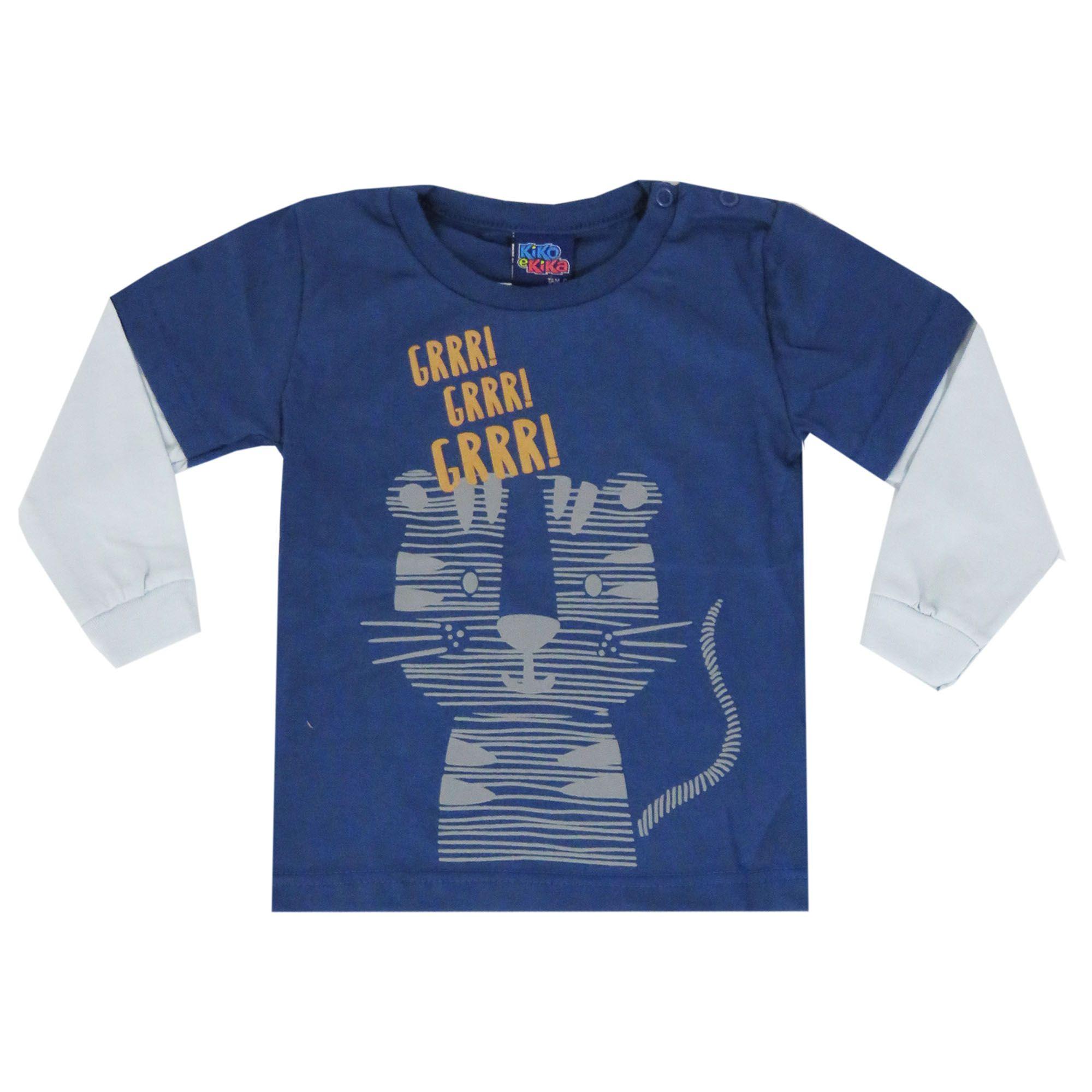 Camiseta Manga Longa Kiko e Kika Estampa Tigre - P ao G
