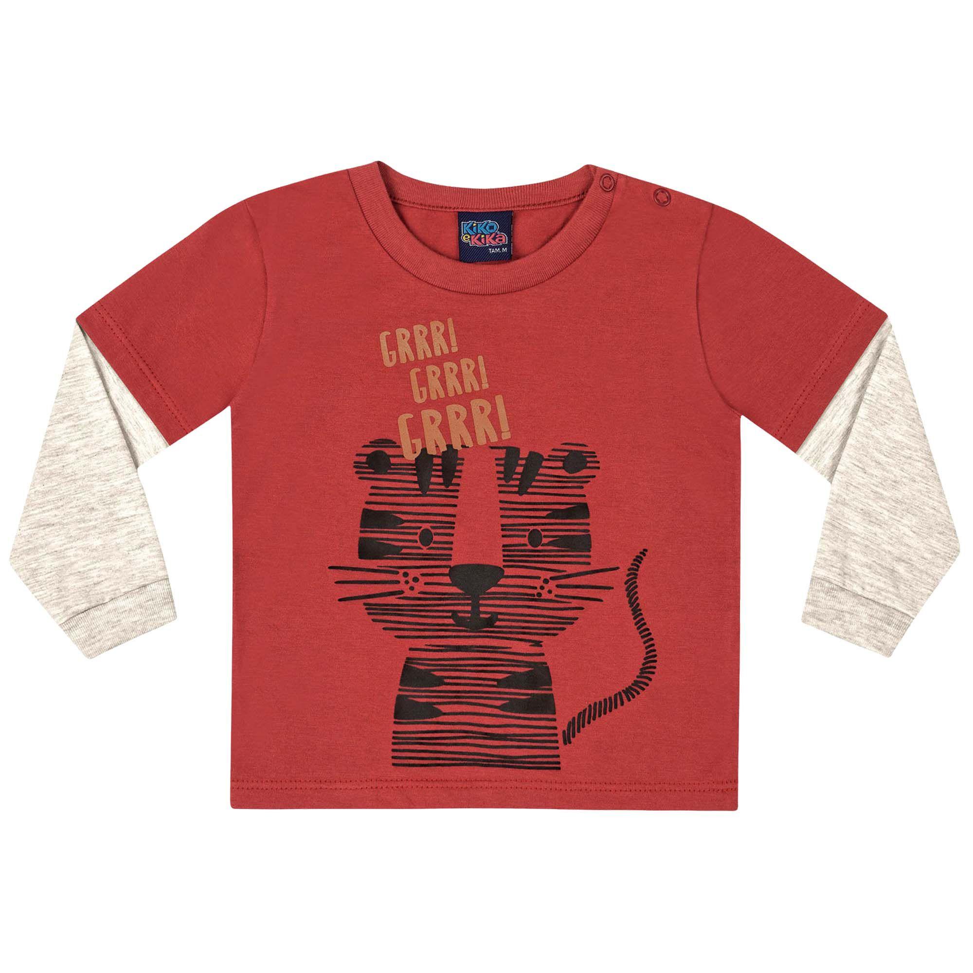 Camiseta Kiko e Kika Estampa Tigre - P ao G