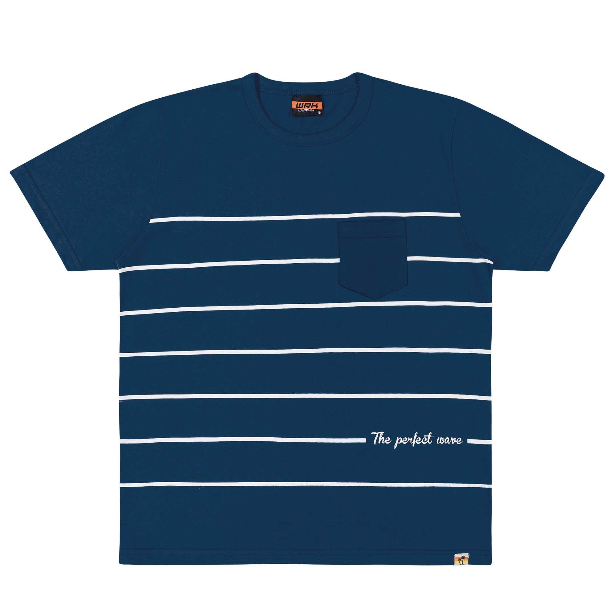 Camiseta Meia Manga Romitex Wyrky Listrada - 12 ao 18