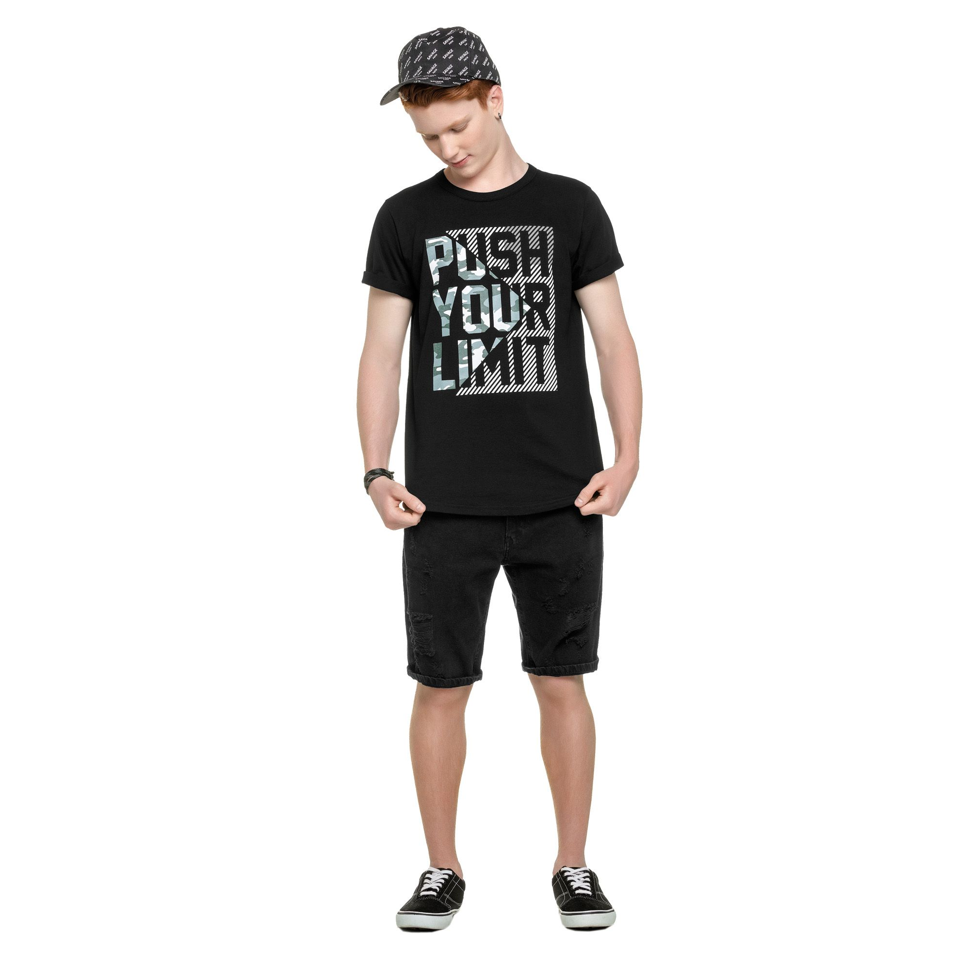 Camiseta Meia Manga Romitex Wyrky Push Your Limit - 12 ao 18