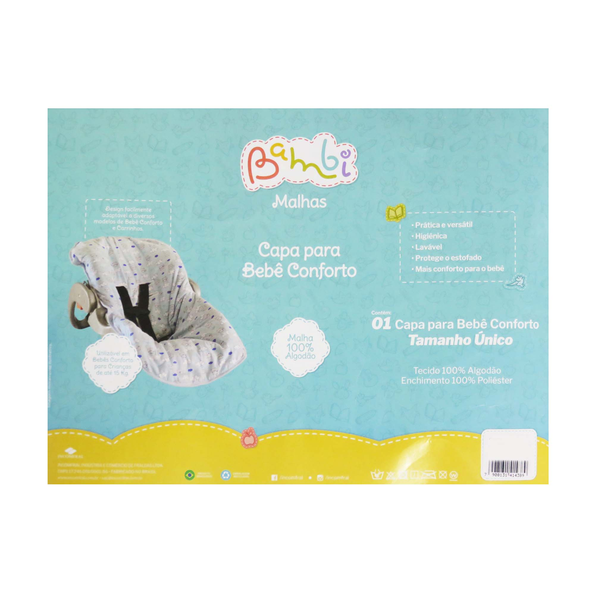 Capa para Bebê Conforto Incomfral Bambi Malhas - Carrinhos
