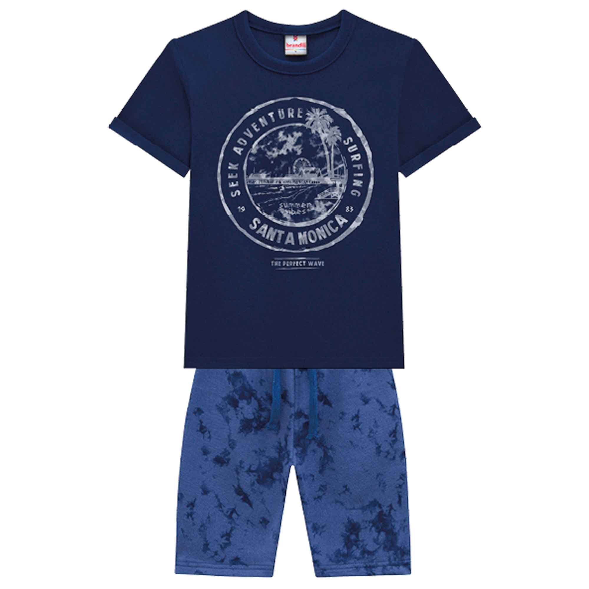 Conjunto Verão Brandili Camiseta Aventura com Bermuda Moletinho - 4 ao 10