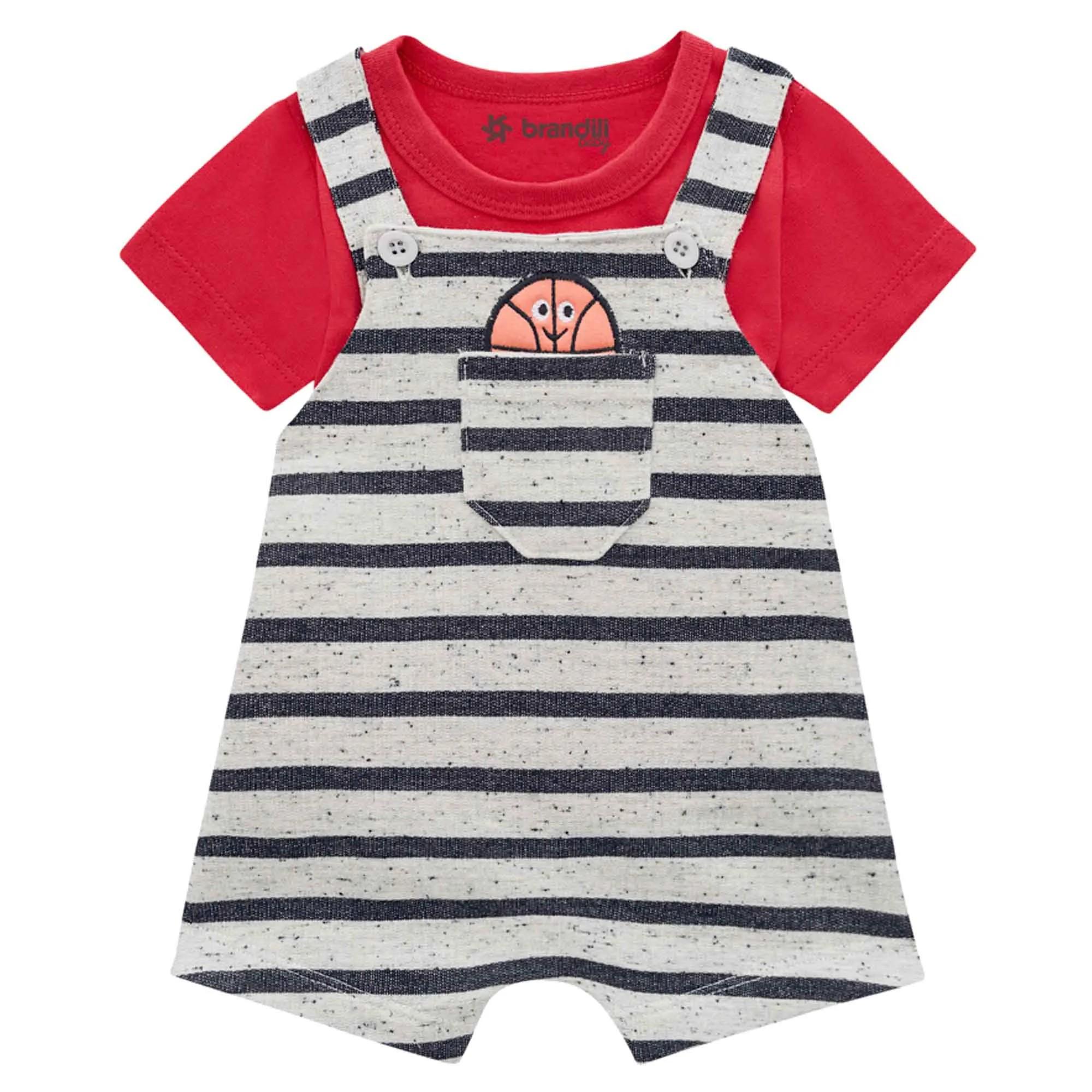 Conjunto Verão Brandili Baby Camiseta e Jardineira Listrada Bolso Bola - P ao G