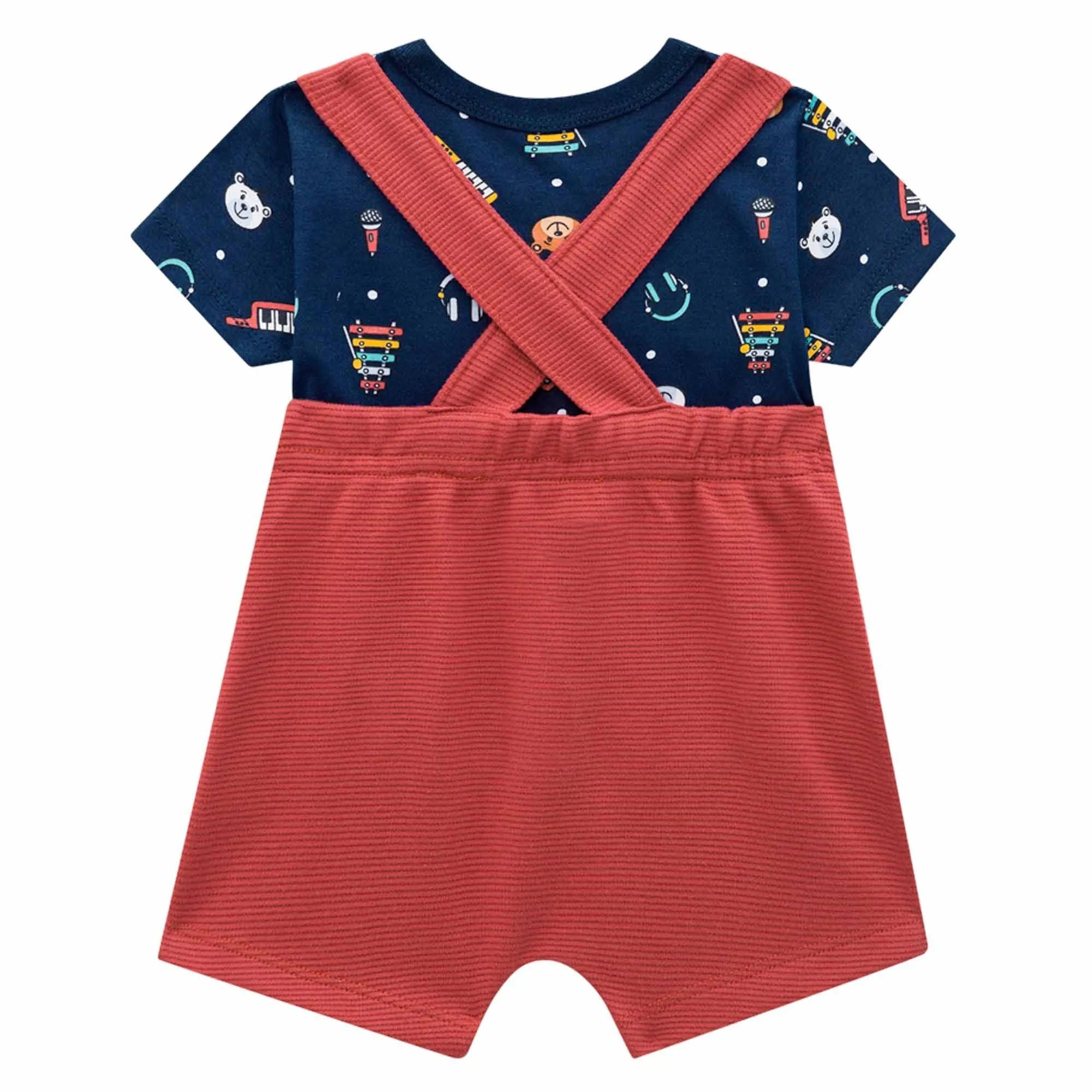 Conjunto Verão Brandili Baby Camiseta e Jardineira Bolsos Rosto Urso - RN ao G