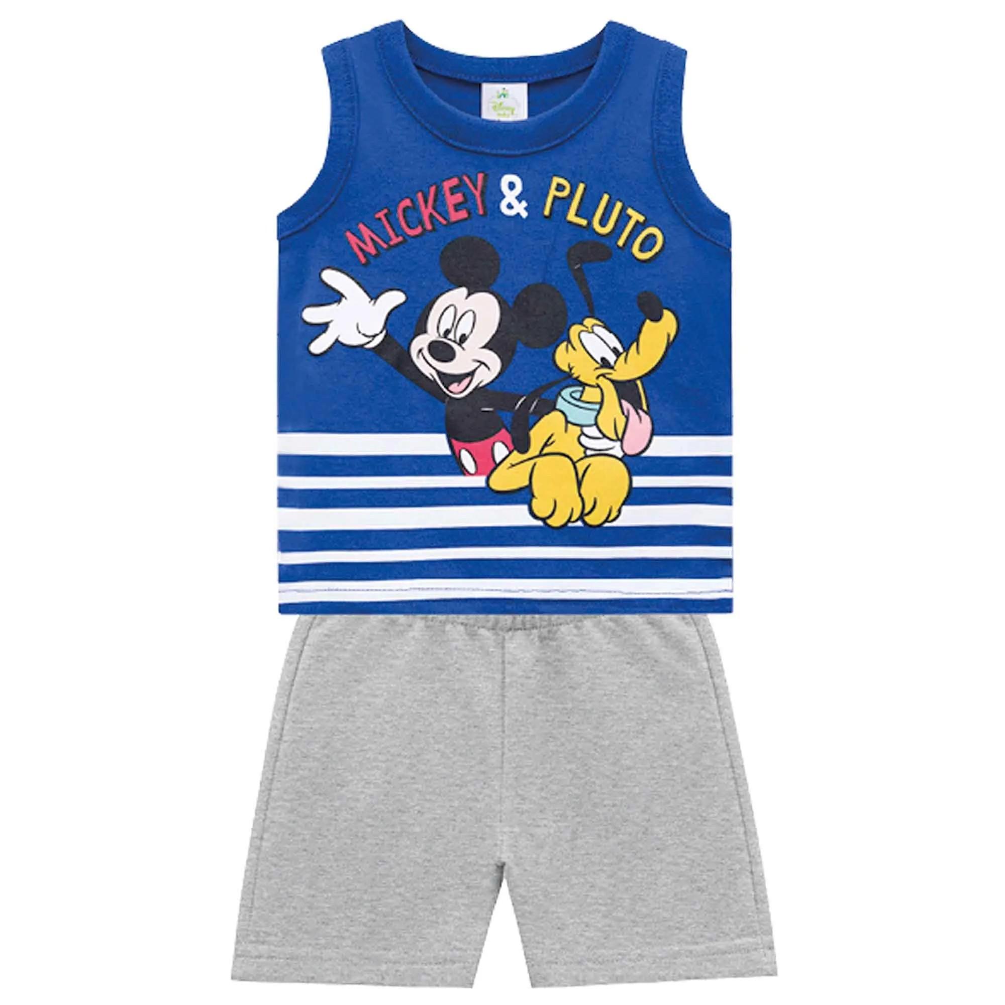 Conjunto Verão Brandili Baby Regata Mickey & Pluto com Bermuda Moletinho - P ao G
