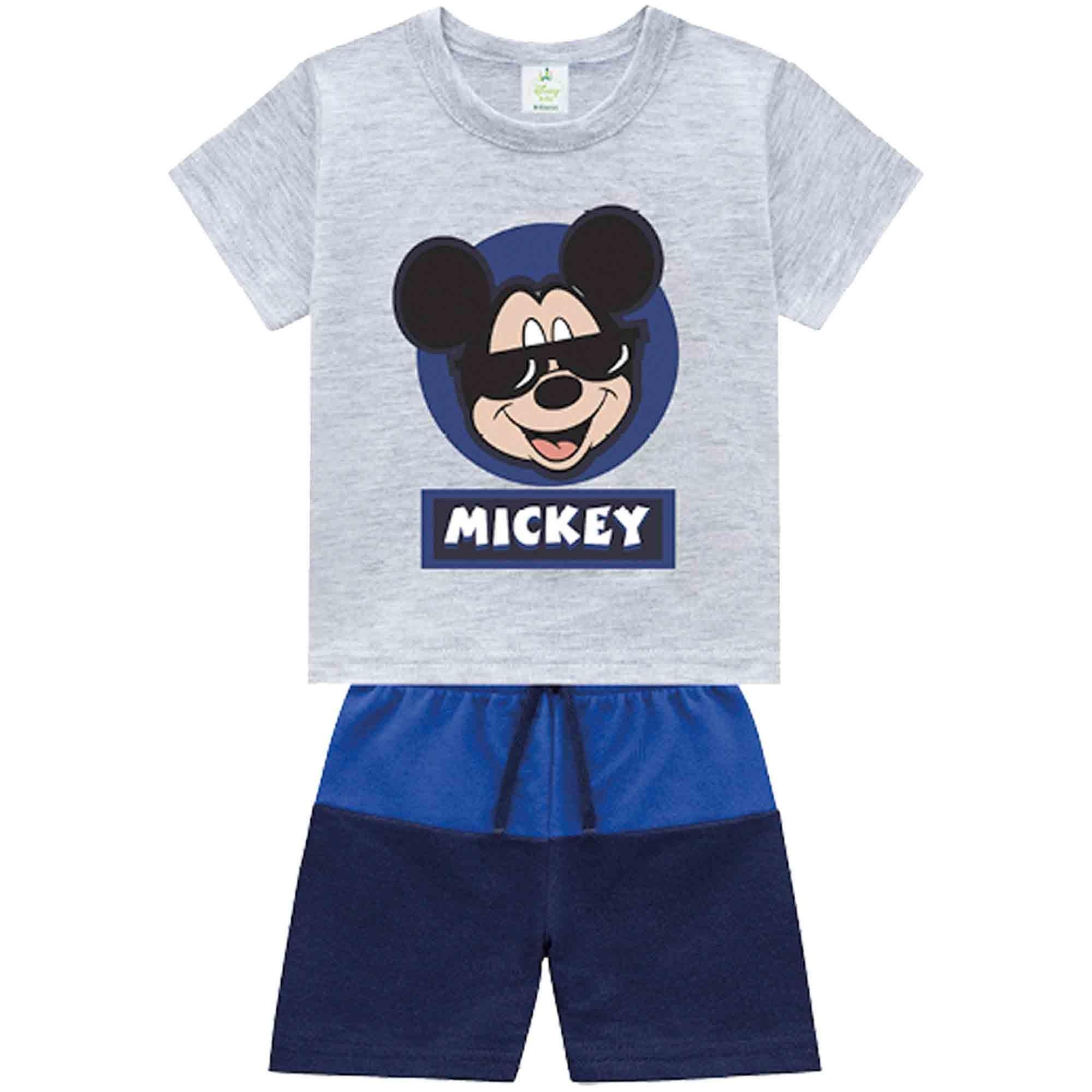 Conjunto Verão Brandili Baby Camiseta Mickey com Bermuda Moletinho - P ao G
