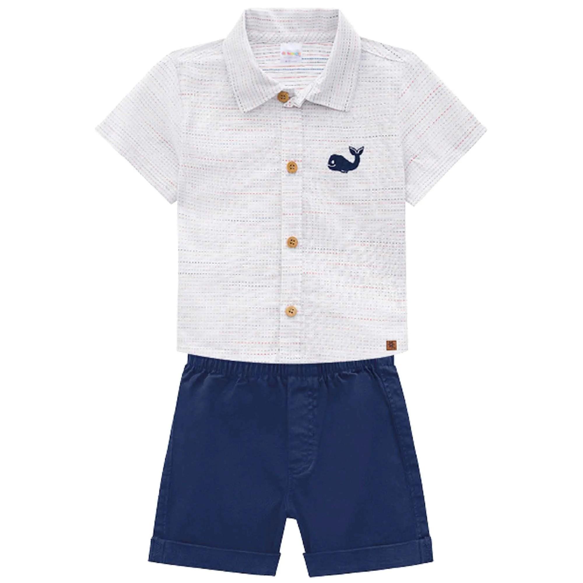 Conjunto Verão Brandili Baby Camisa Bordada com Bermuda Sarja  - P ao G