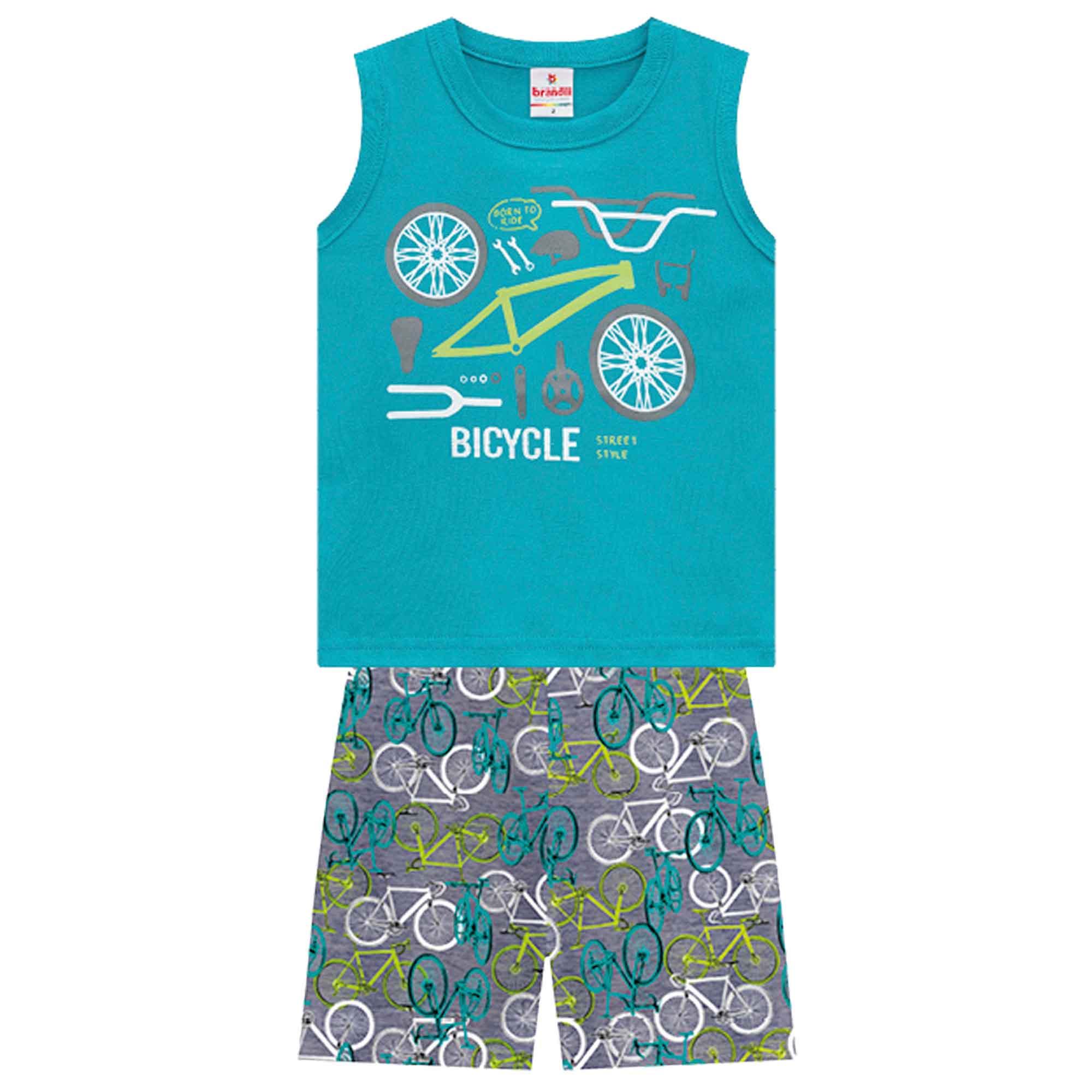 Conjunto Verão Brandili Regata Bicycle com Bermuda Moletinho - 1 ao 3