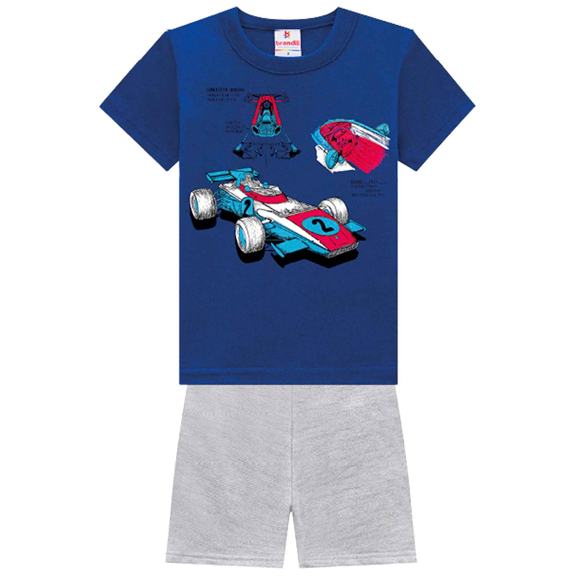 Conjunto Verão Brandili Camiseta Carro de Corrida com Bermuda Moletom - 1 ao 3