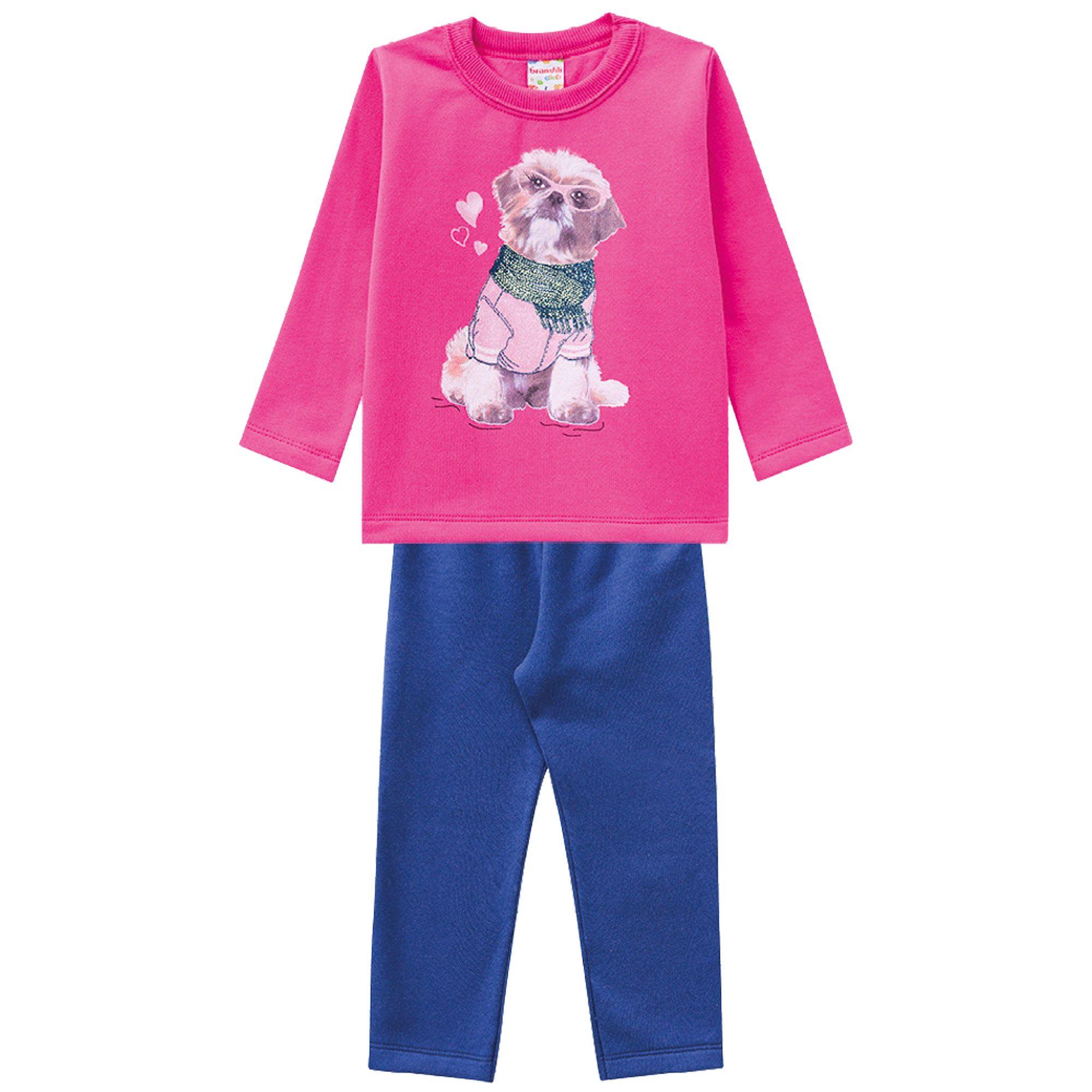 Conjunto Inverno Brandili Club Estampado Cão com Óculos e Cachecol Glitter e Calça Moletom - 01 ao 03