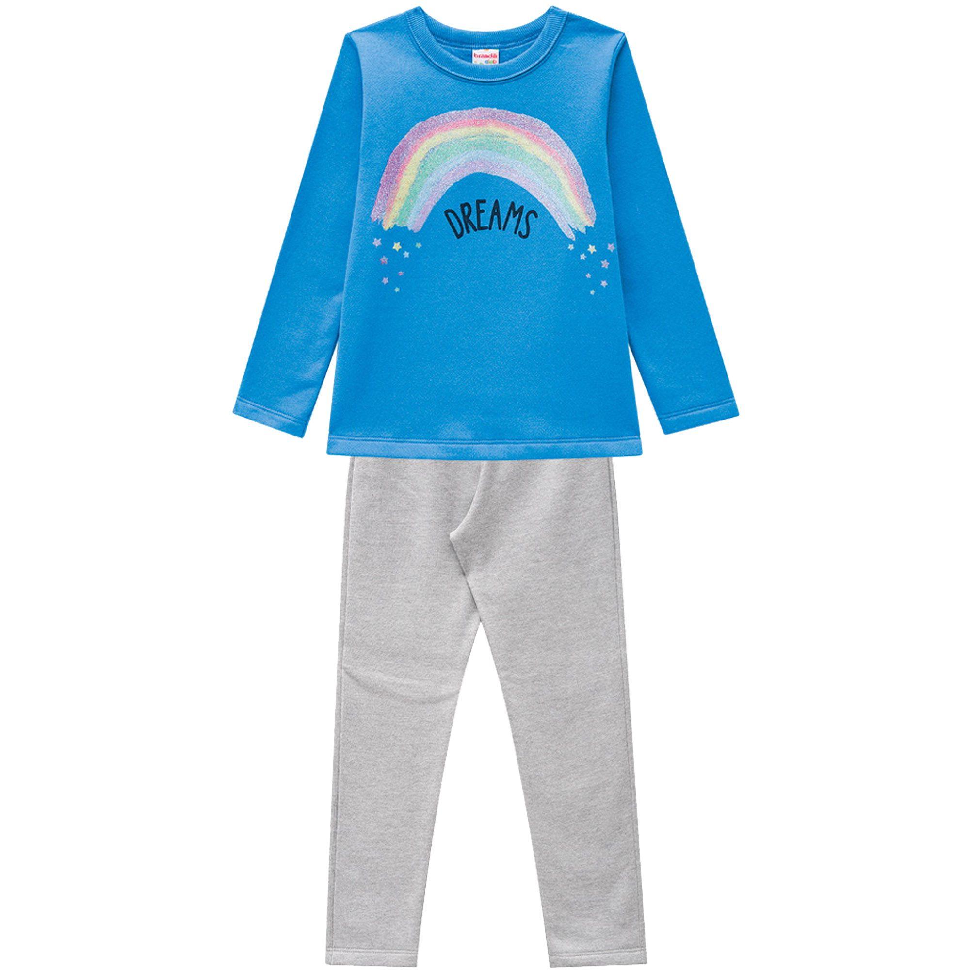 Conjunto Inverno Brandili Club Estampado Dreams Arco Iris com calça em moletom - 12 ao 16