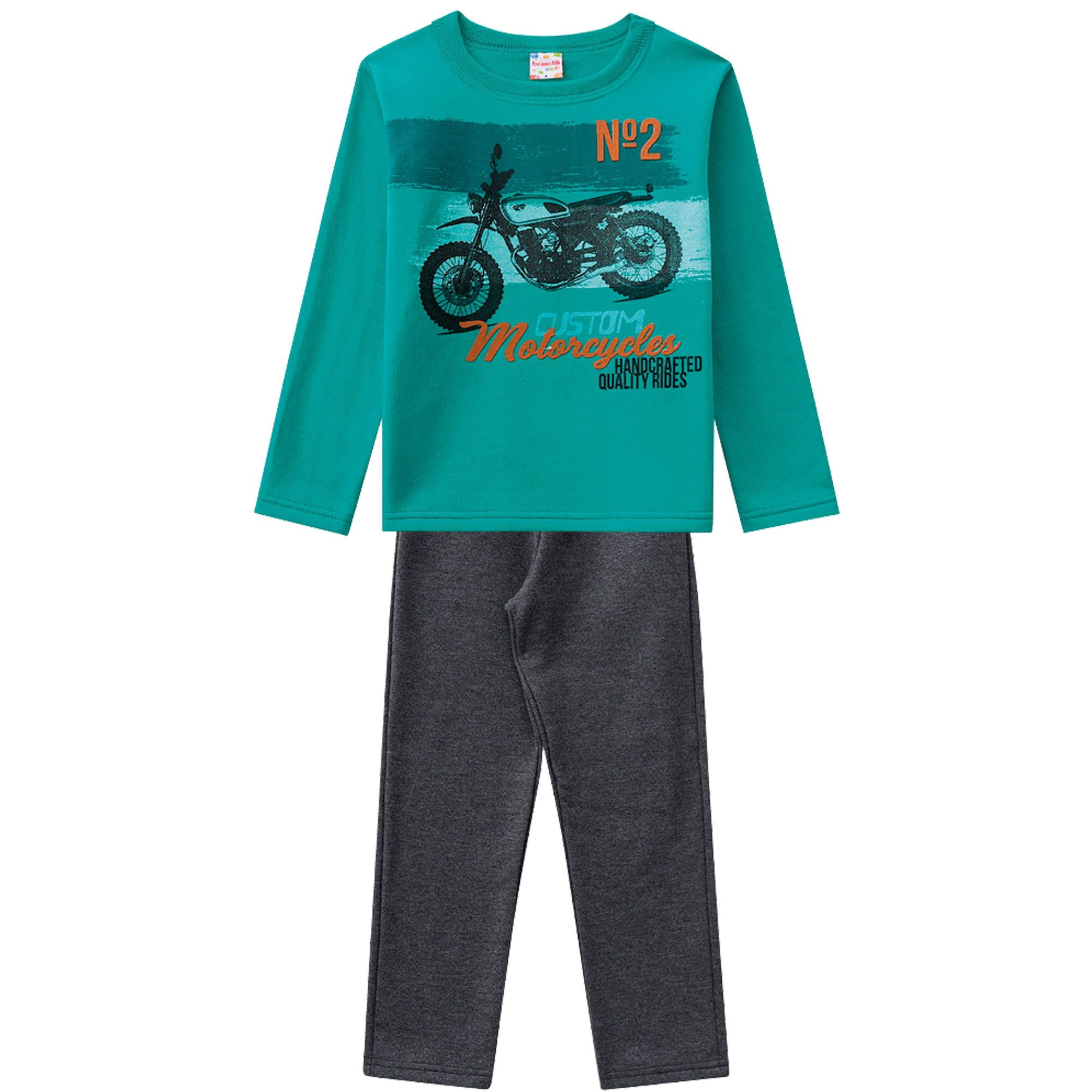 Conjunto Inverno Brandili Club Estampado N2 Custom Motocicletas e Calça em Moletom - 4 ao 10