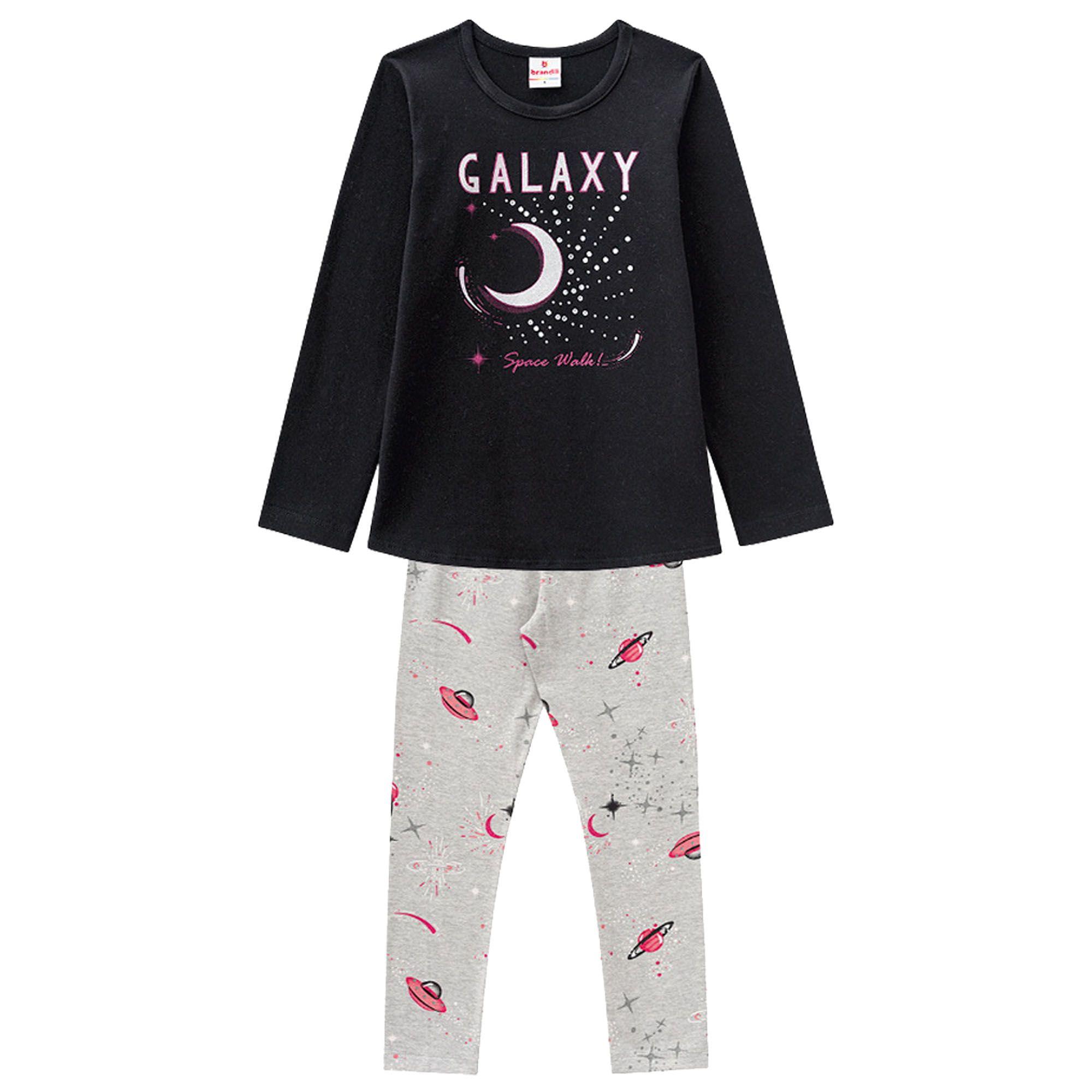 Conjunto Inverno Brandili Estampa Galaxy Space Wolk com Legging em Cotton - 12 ao 16