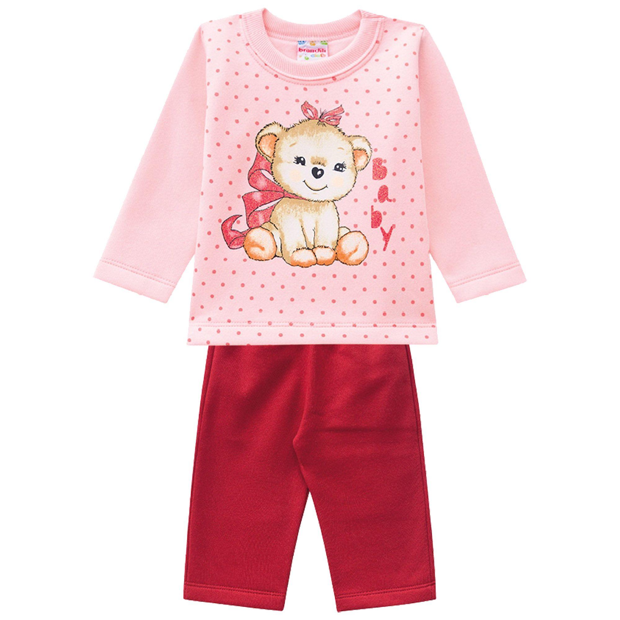 Conjunto Inverno Brandili Estampado Baby Ursinho Poá com Calça lisa em moletom - P ao G