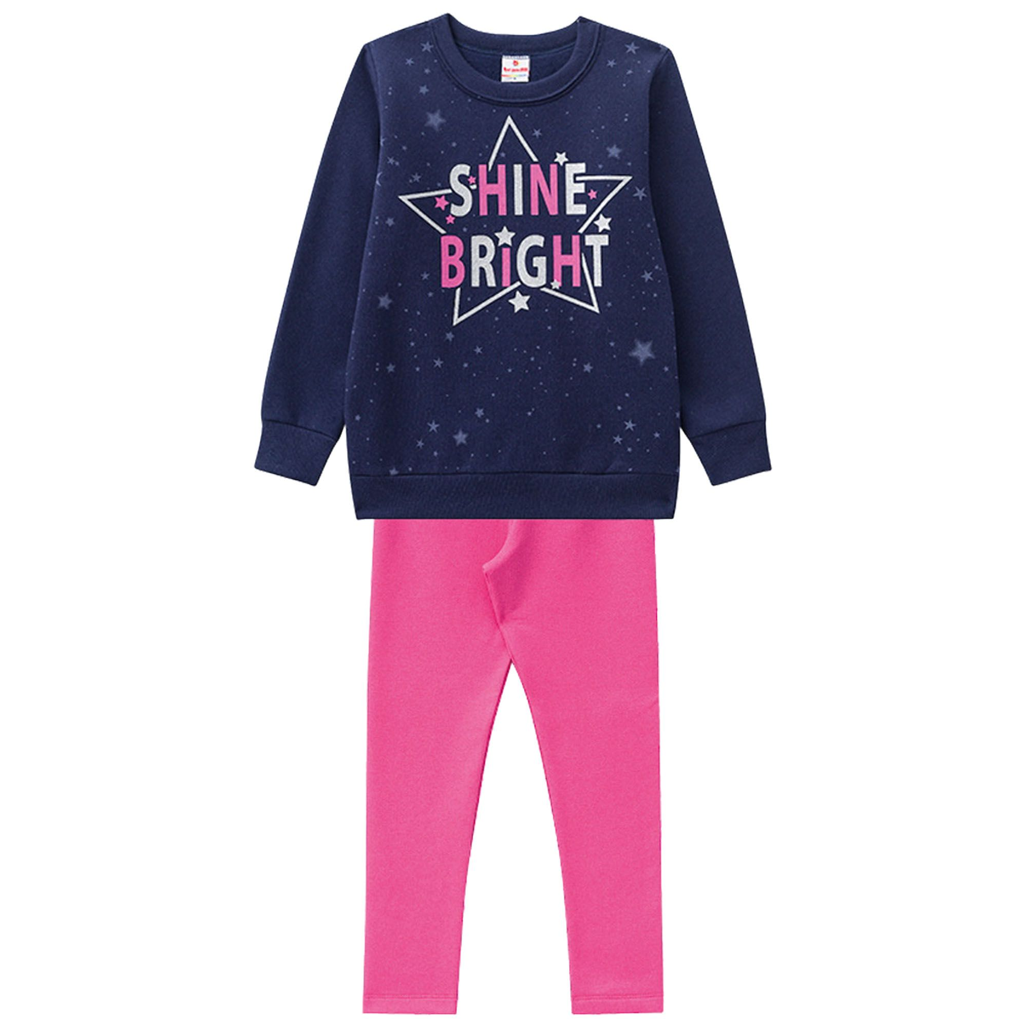 Conjunto Inverno Brandili Estampado Estrela Shine Bright com Legging - 4 e 6