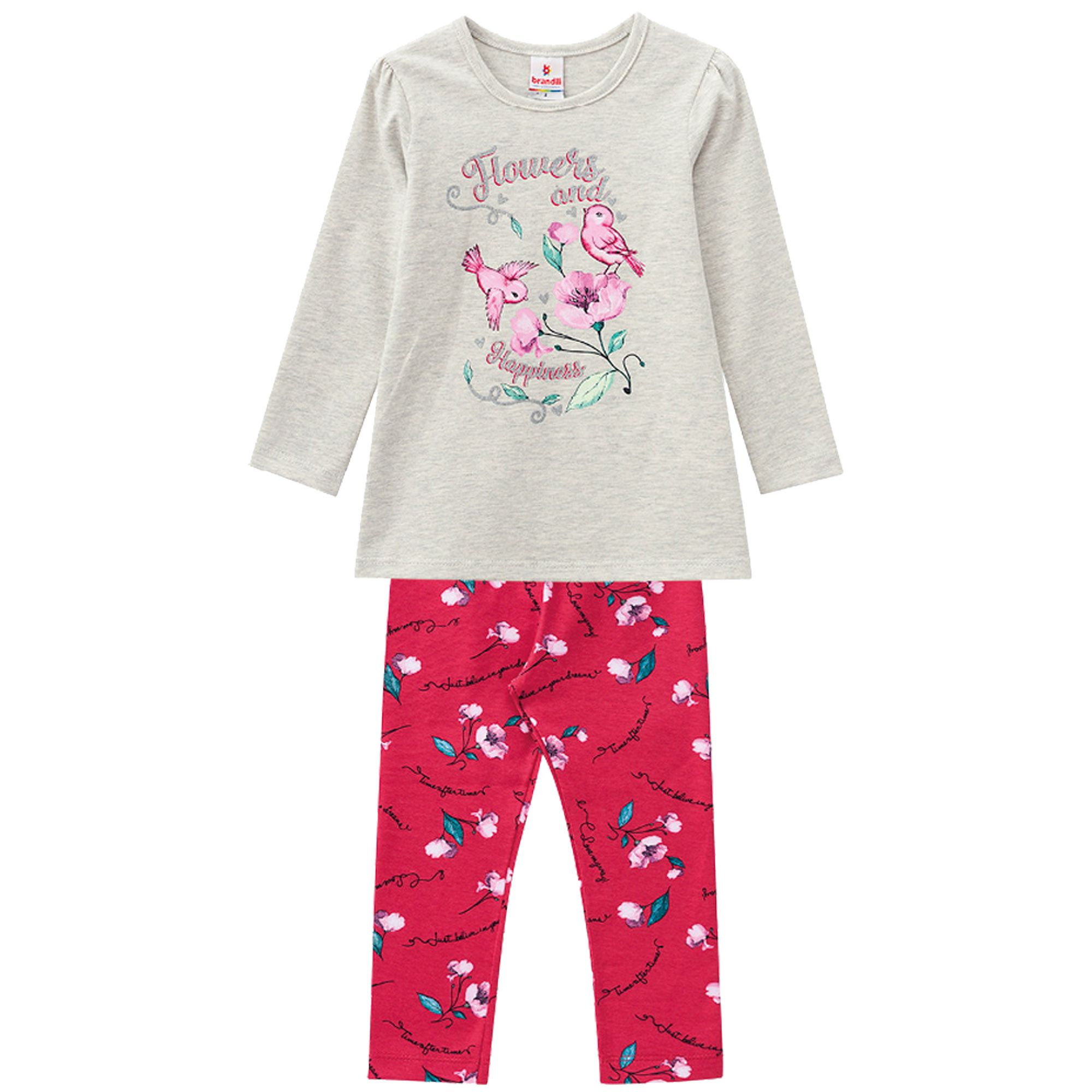Conjunto Brandili Estampado Flowers and Happiness com Legging em cotton - 01 ao 03
