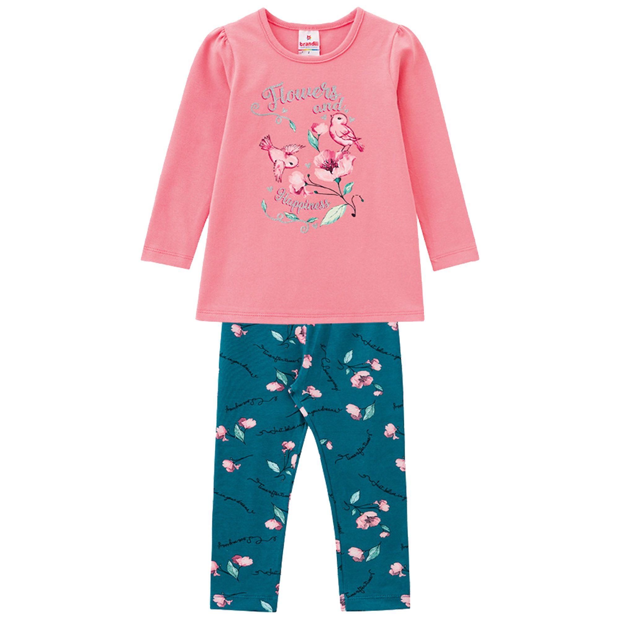 Conjunto Inverno Brandili Estampado Flowers and Happiness com Legging em cotton - 01 ao 03