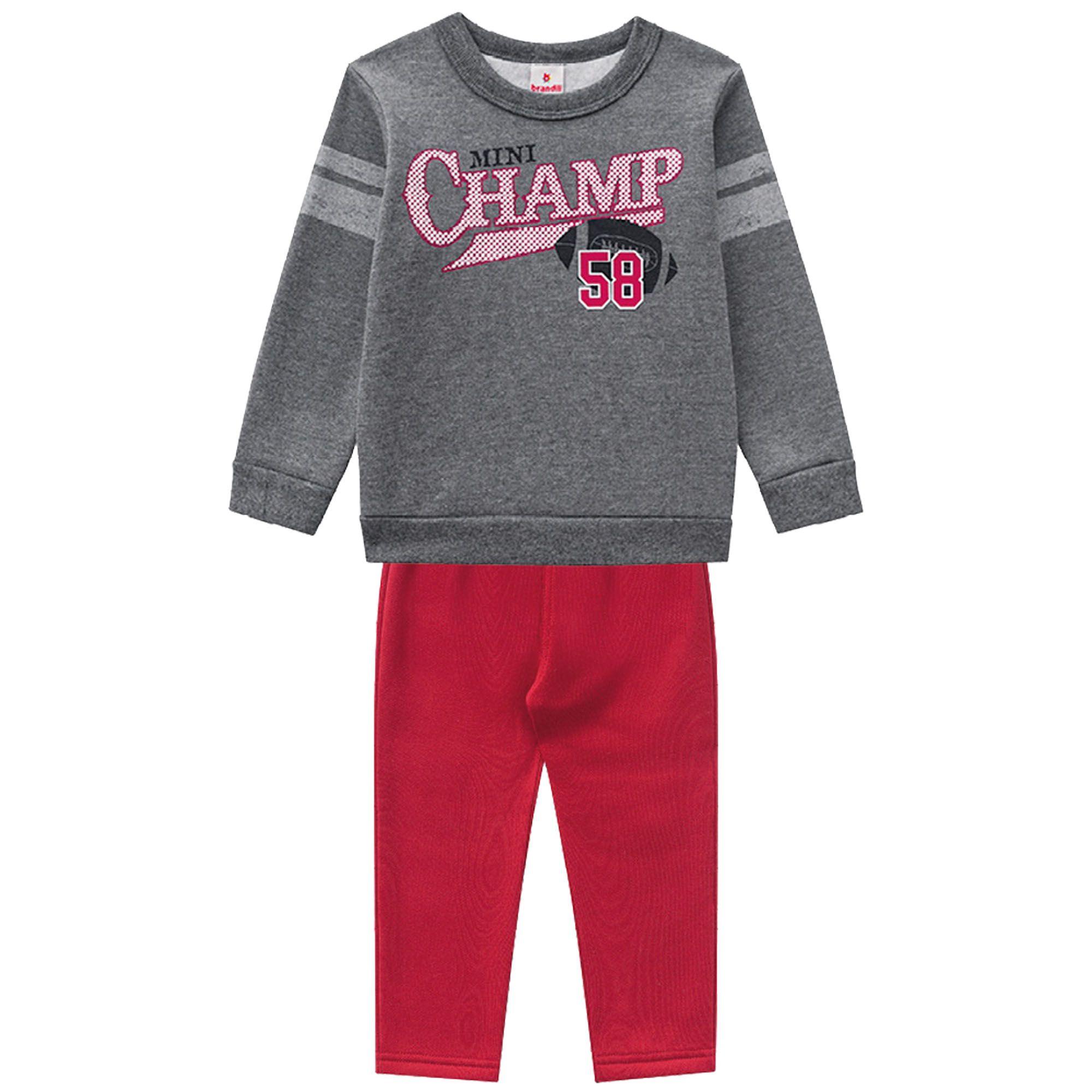 Conjunto Inverno Brandili Estampado Mini Champ 58 com calça em moletom - 01 ao 03