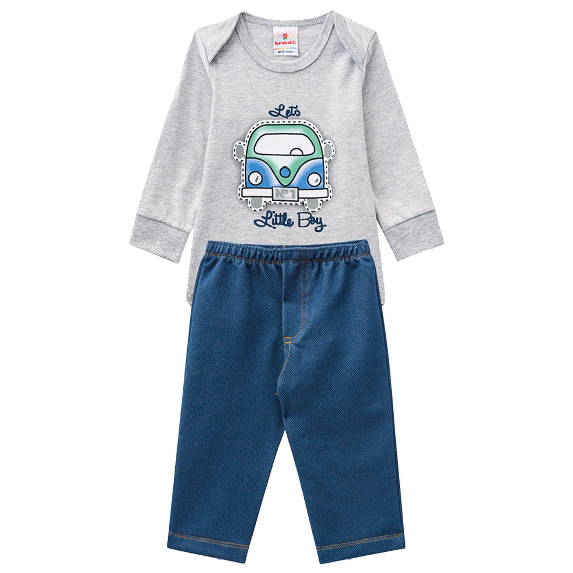 Conjunto Inverno Brandili Estampado Perua Lets Litlle Boy e Calça Jeans - M e G