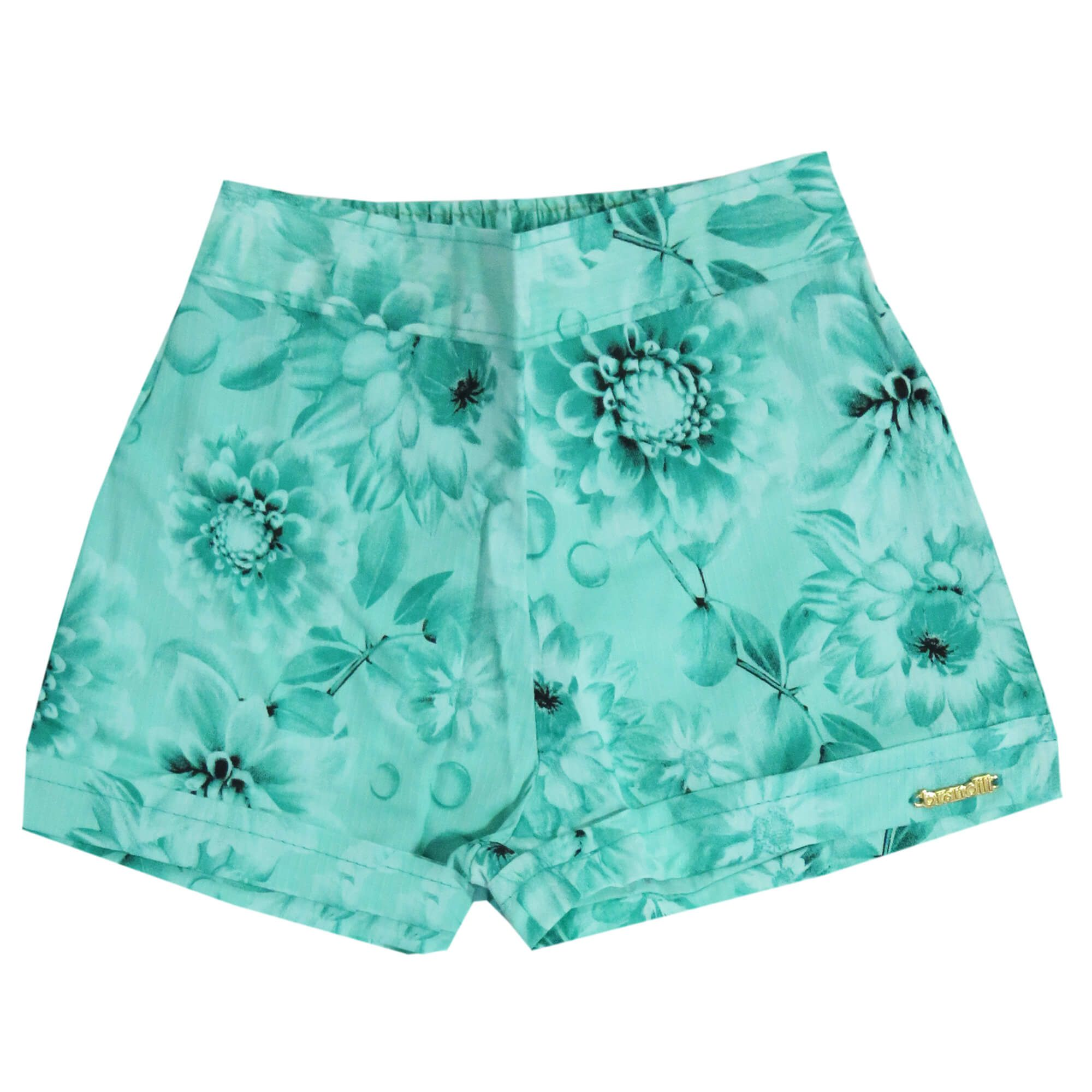 Conjunto Verão Brandili Regata My Little Garden com Shorts Florido - Branco - 1 ao 3