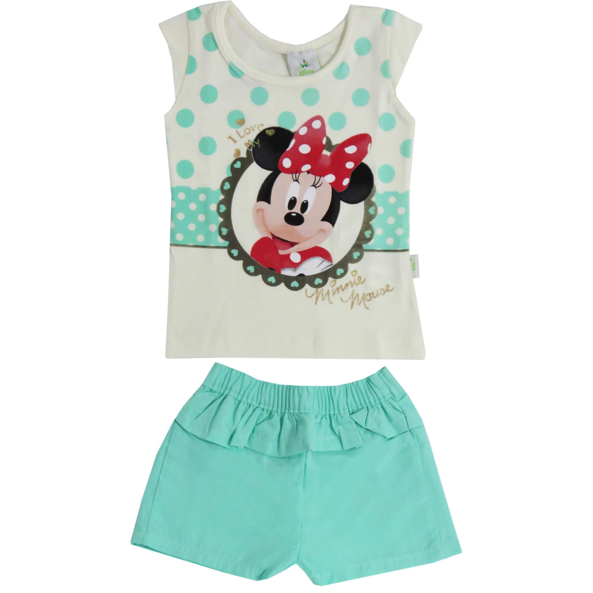 Conjunto Verão Brandili Blusa I Love My Minnie com Shorts - P ao G
