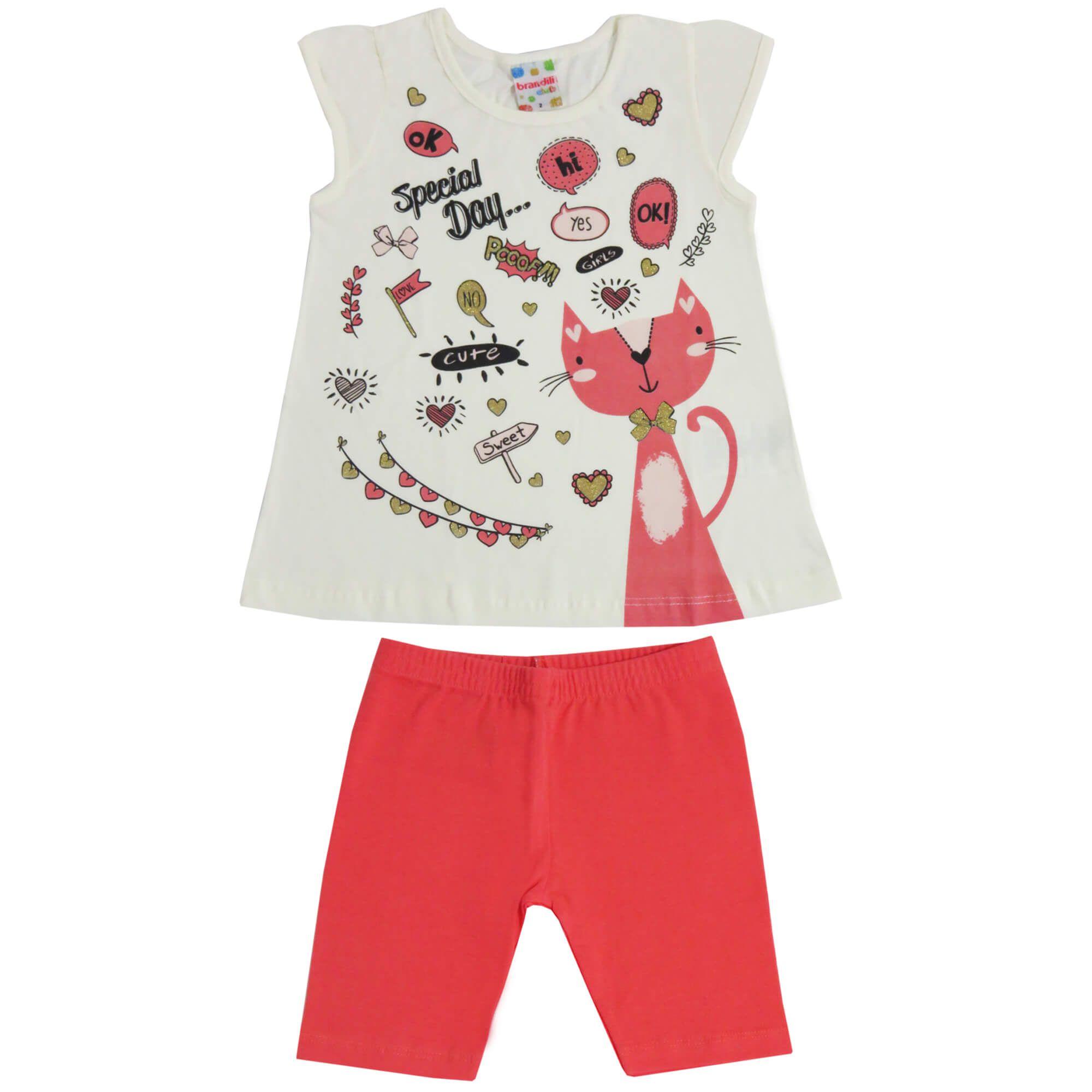 Conjunto Verão Brandili Blusa Gata Special Day com Shorts - 1 ao 3