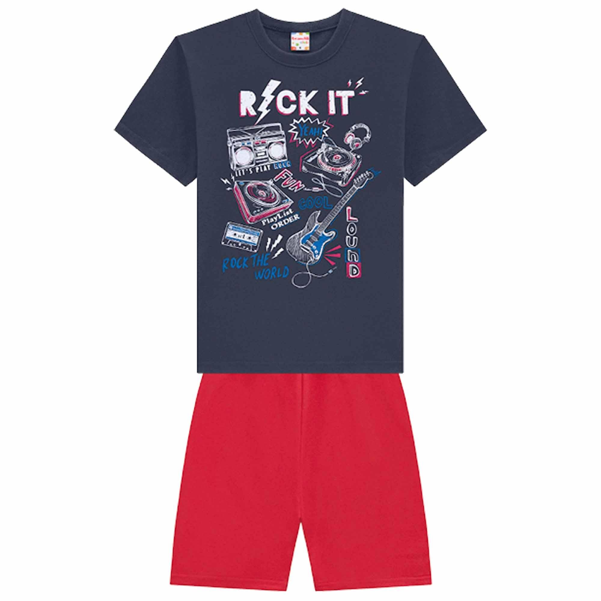 Conjunto Verão Brandili Camiseta Rock com Bermuda Moletinho- 4 ao 10