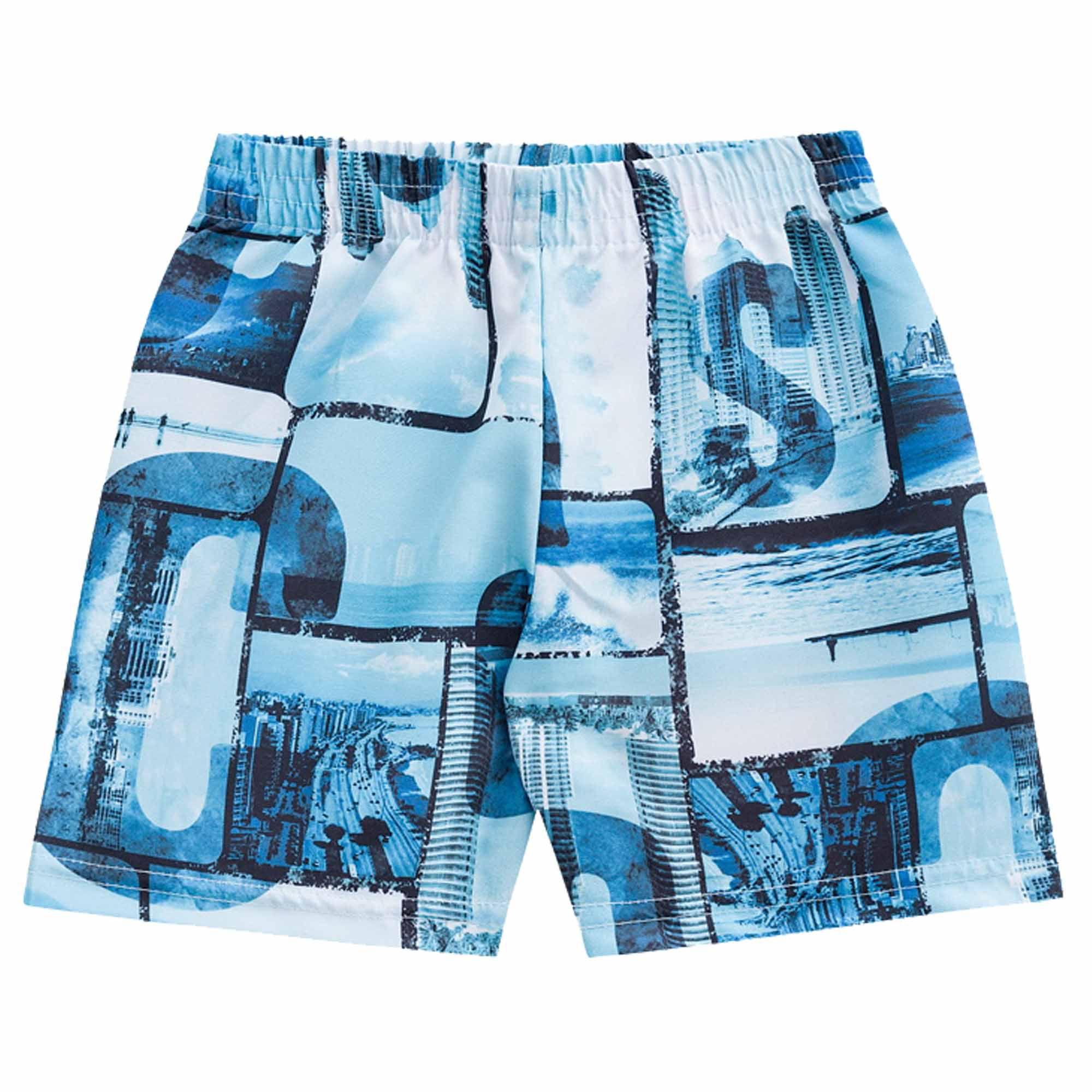 Conjunto Verão Brandili Club Camiseta Surf Town com Bermuda Microfibra - 1 ao 3