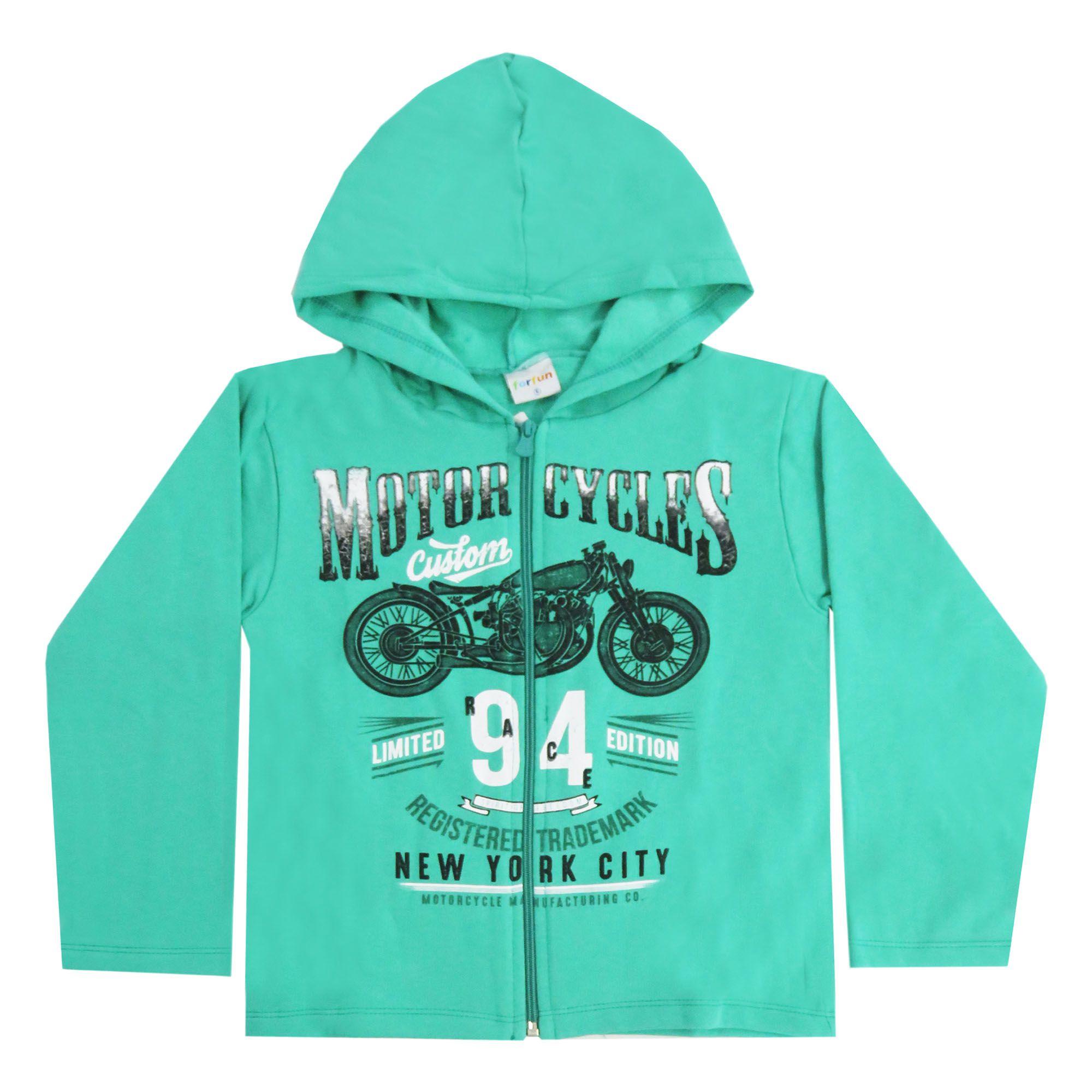 Conjunto Inverno  Fakini Jaqueta Estampa Moto com capuz aberto e zíper em moletom - 4 ao 8