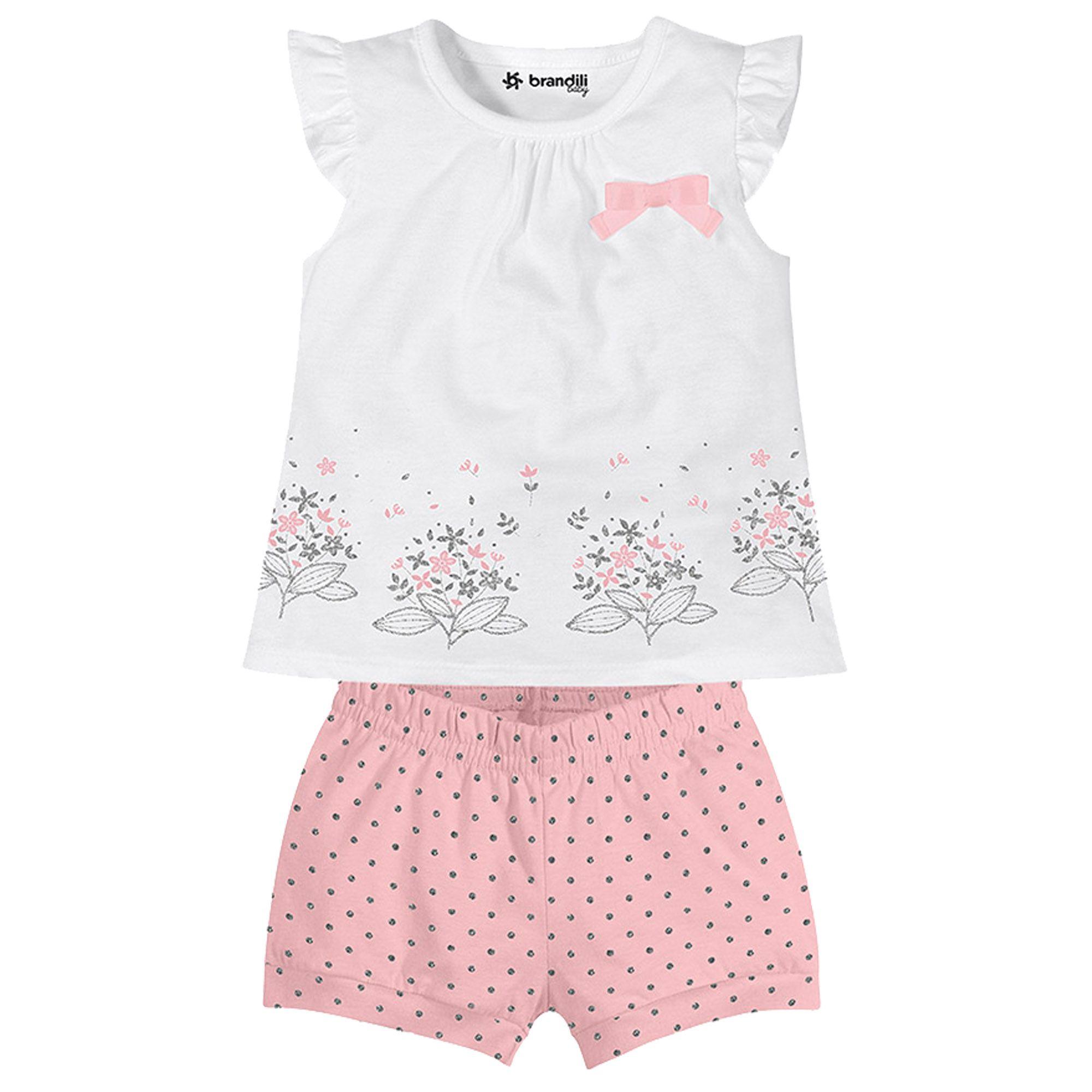 Conjunto Verão Brandili Baby Blusa Flores com Shorts Poá - 1 ao 3